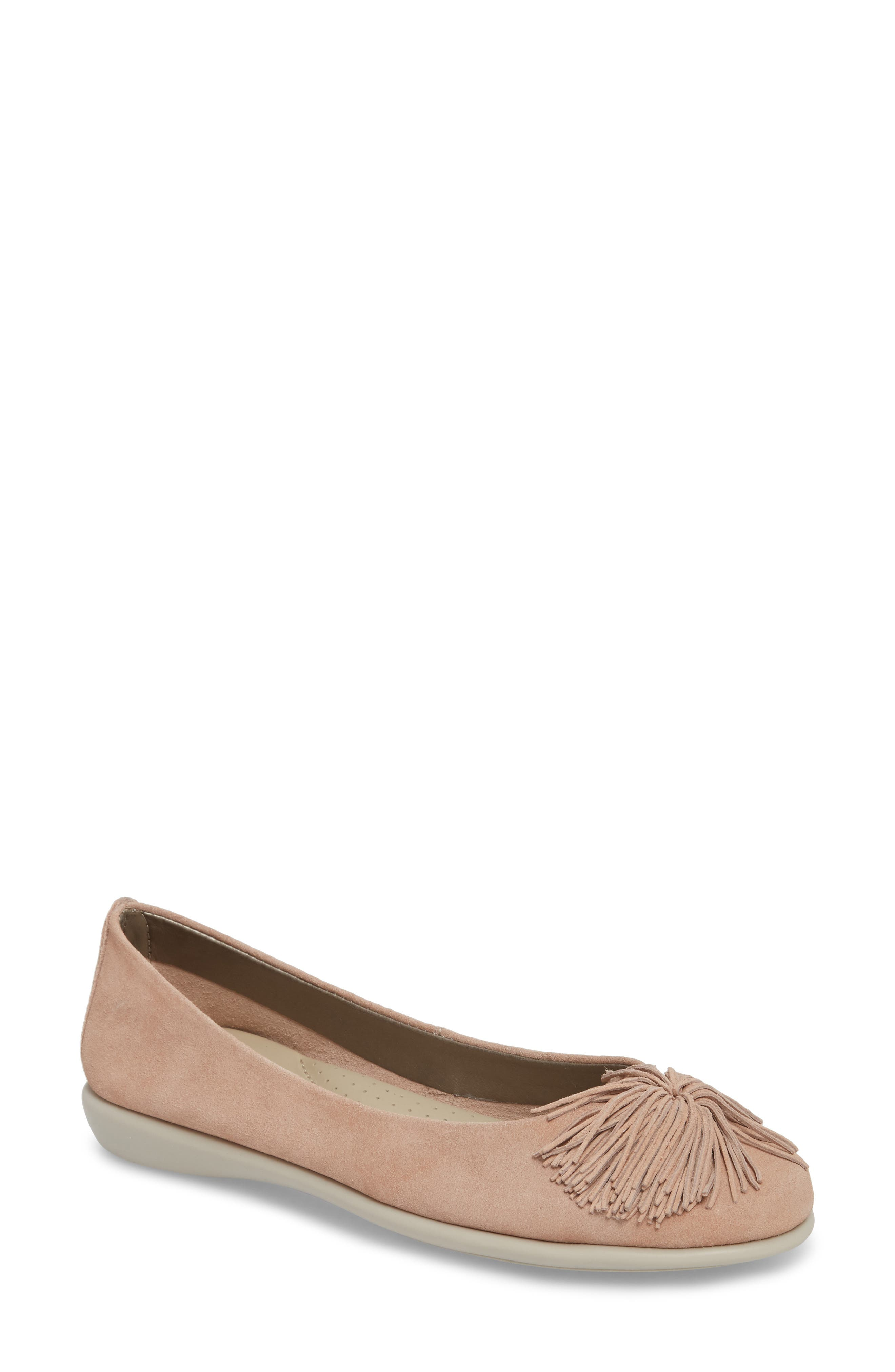 THE FLEXX, Pompom Flat, Main thumbnail 1, color, ROSE GOLD LEATHER