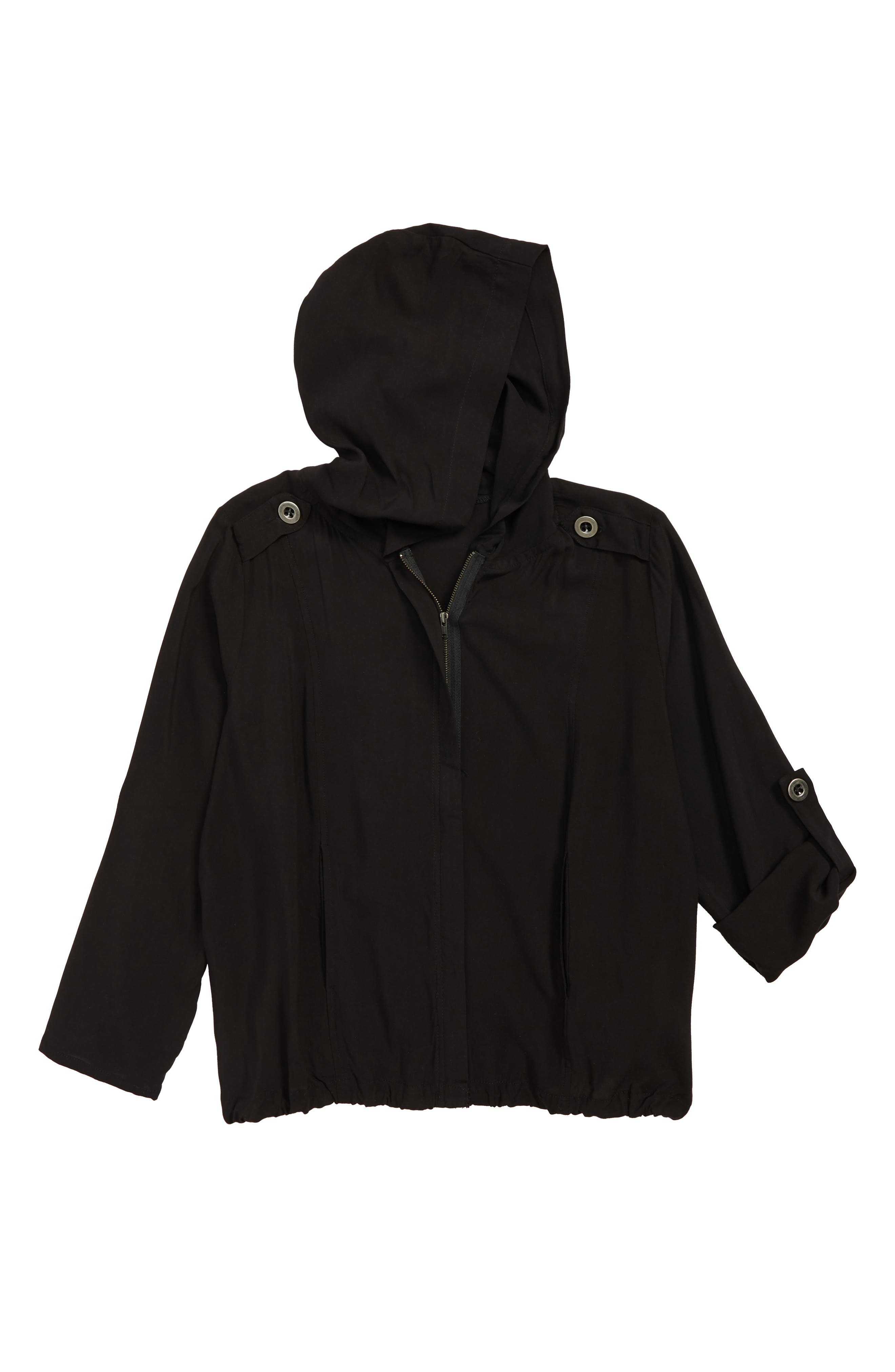 WALKING ON SUNSHINE Hooded Jacket, Main, color, BLACK
