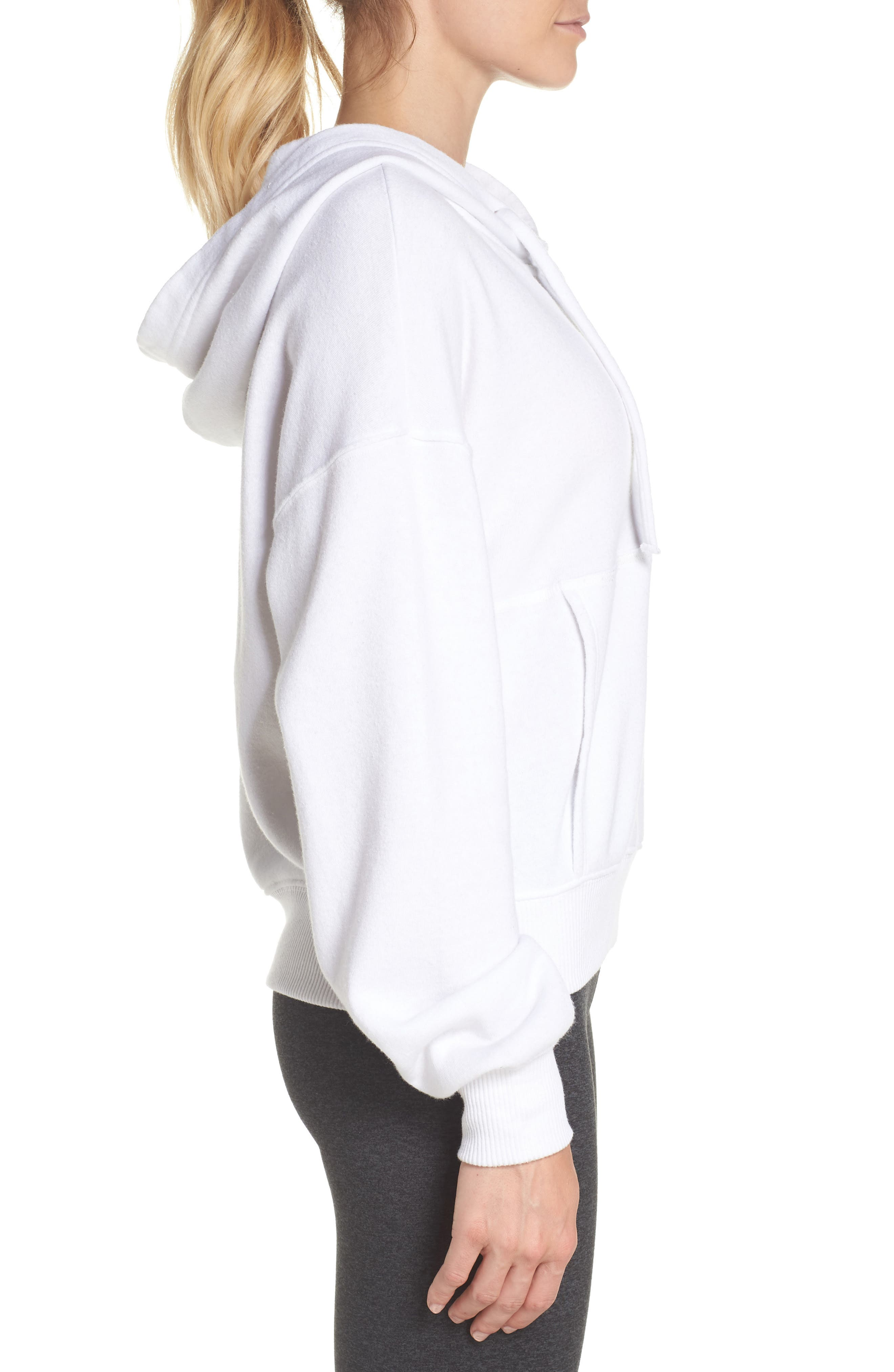 FREE PEOPLE MOVEMENT, Believer Hoodie, Alternate thumbnail 4, color, WHITE