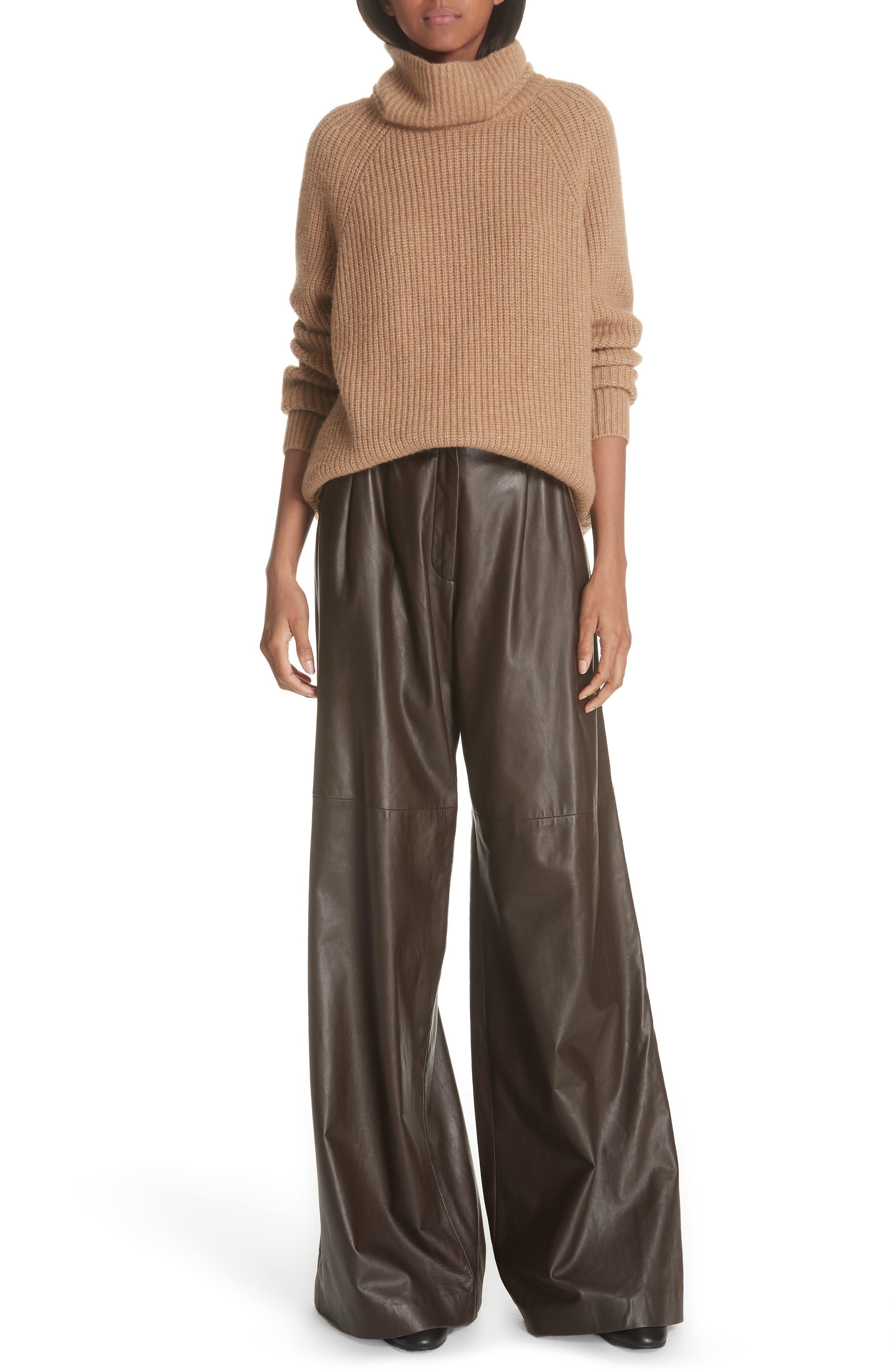 NILI LOTAN, Nico Leather Pants, Alternate thumbnail 6, color, BROWN