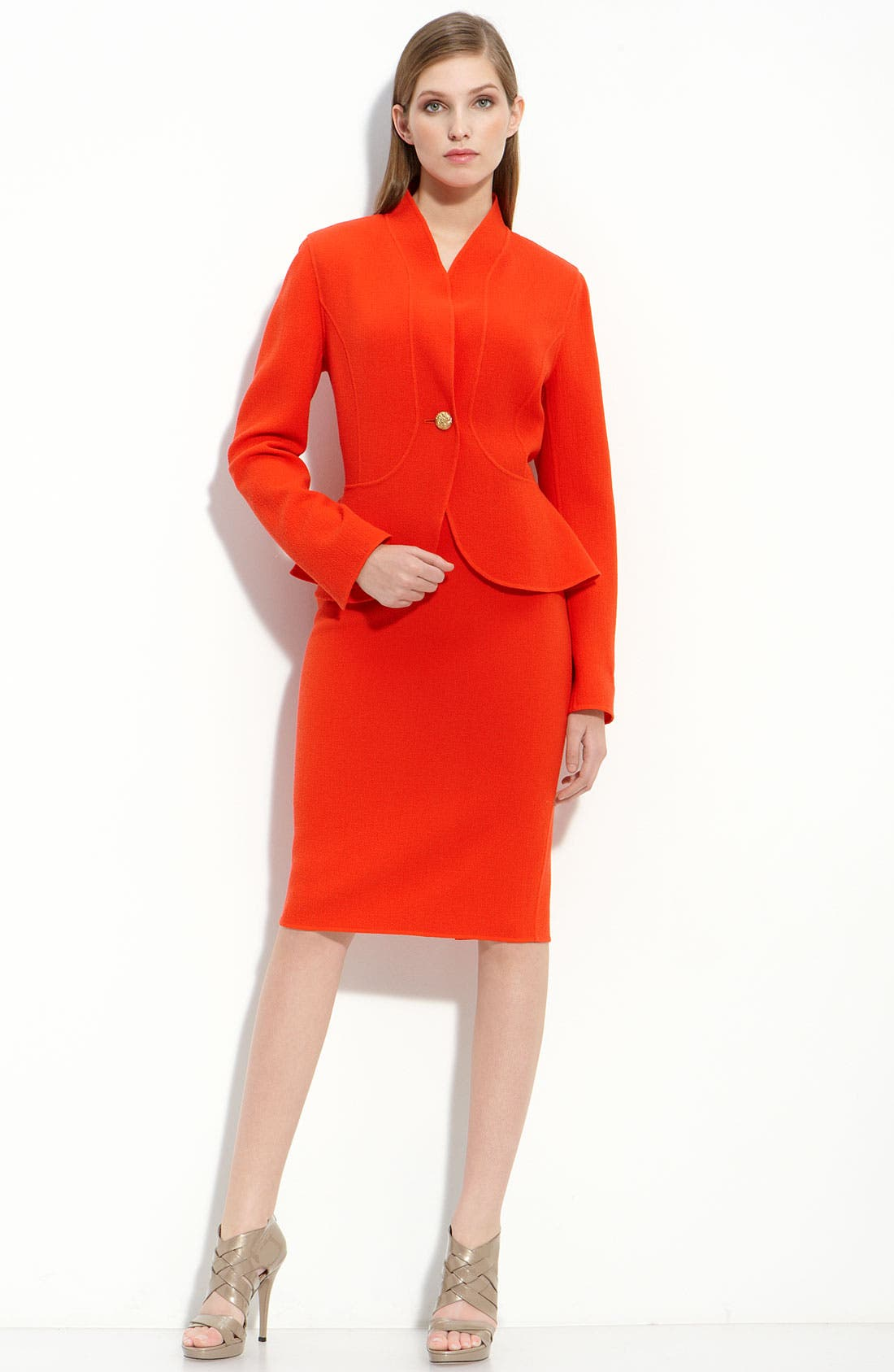 ST. JOHN COLLECTION, Double Face Crepe Jacket, Alternate thumbnail 2, color, 800