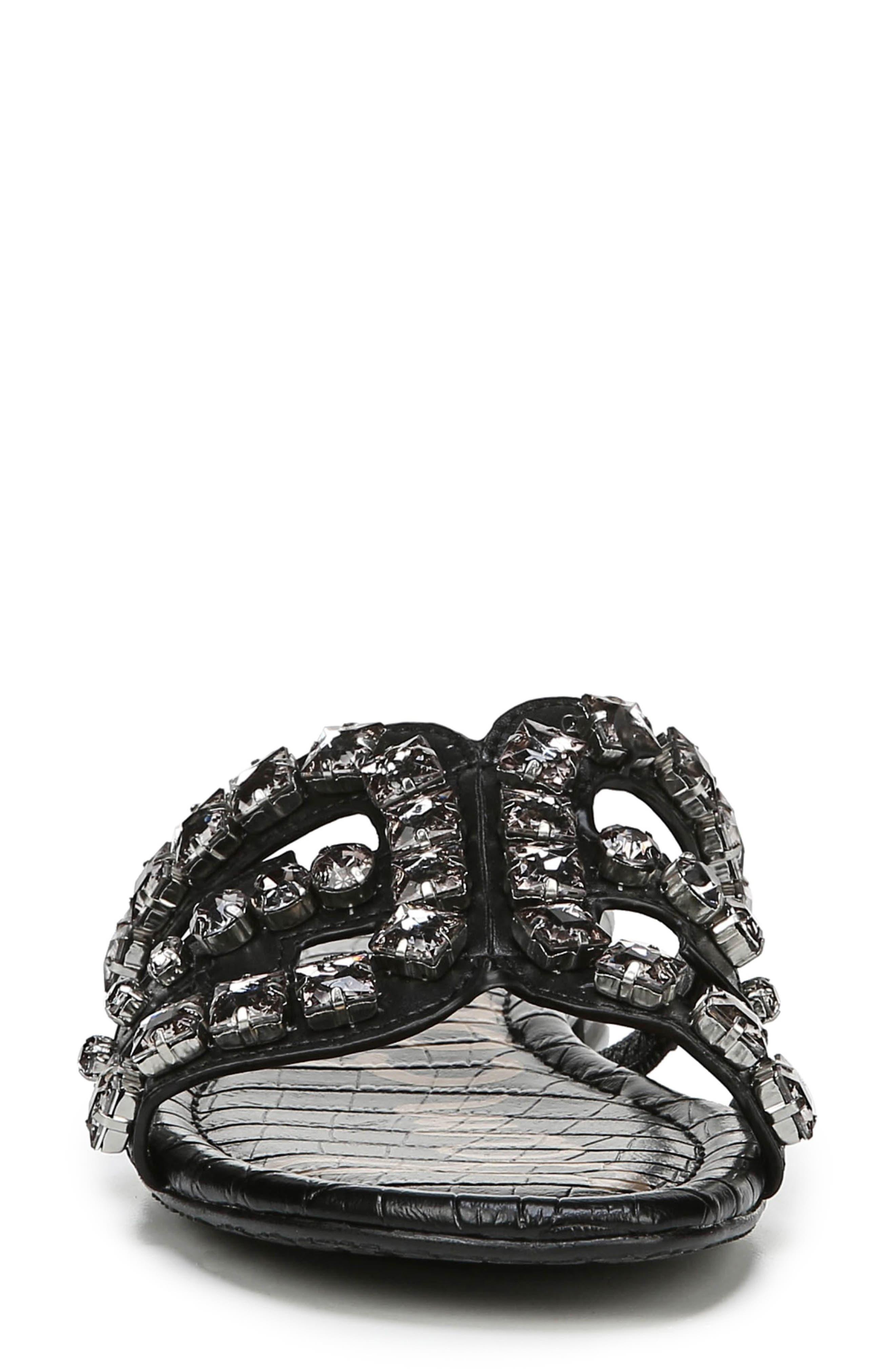 SAM EDELMAN, Bay 2 Embellished Slide Sandal, Alternate thumbnail 4, color, BLACK NAPPA LEATHER
