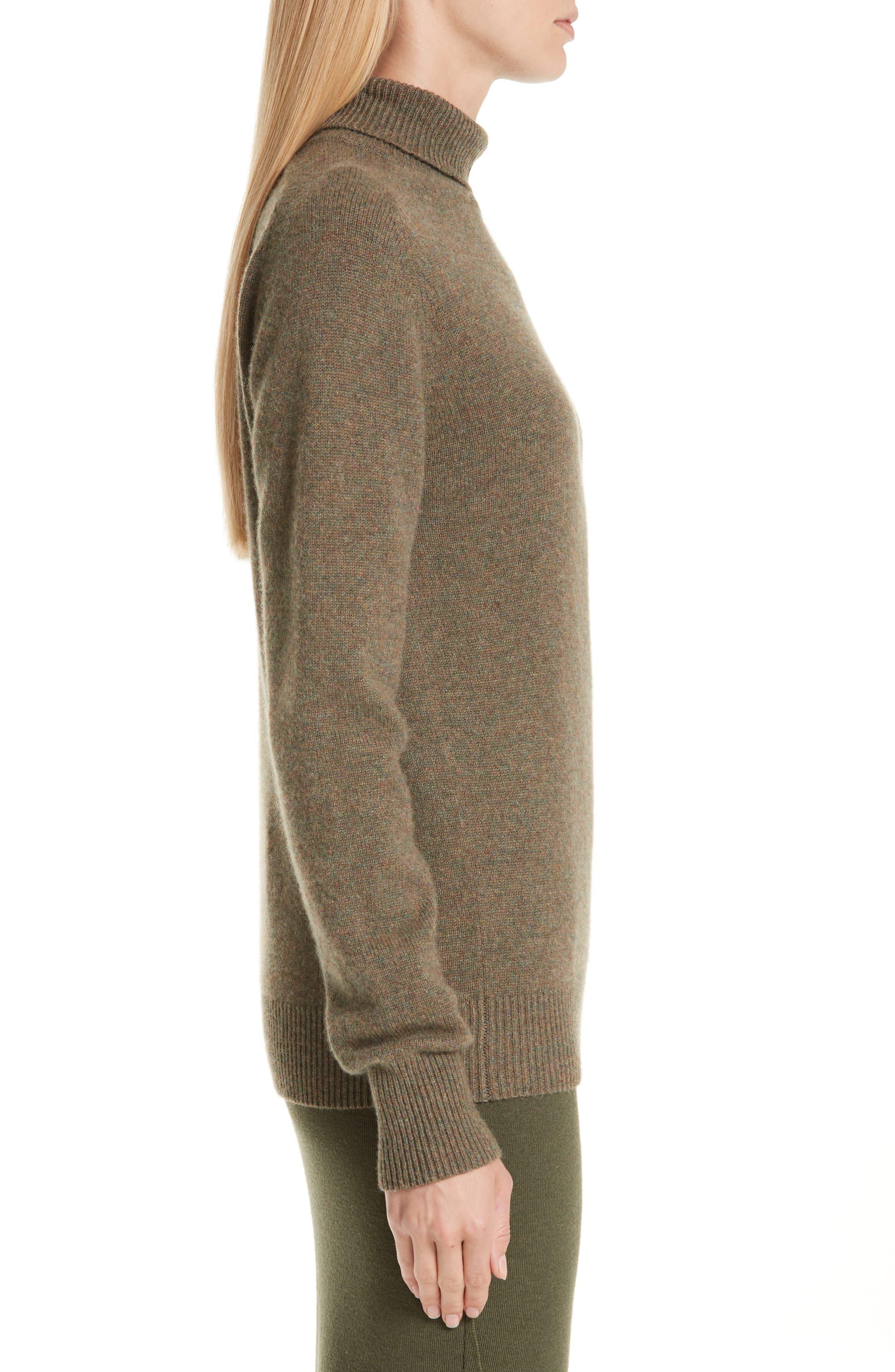 VICTORIA BECKHAM, Stretch Cashmere Turtleneck Sweater, Alternate thumbnail 4, color, OLIVE