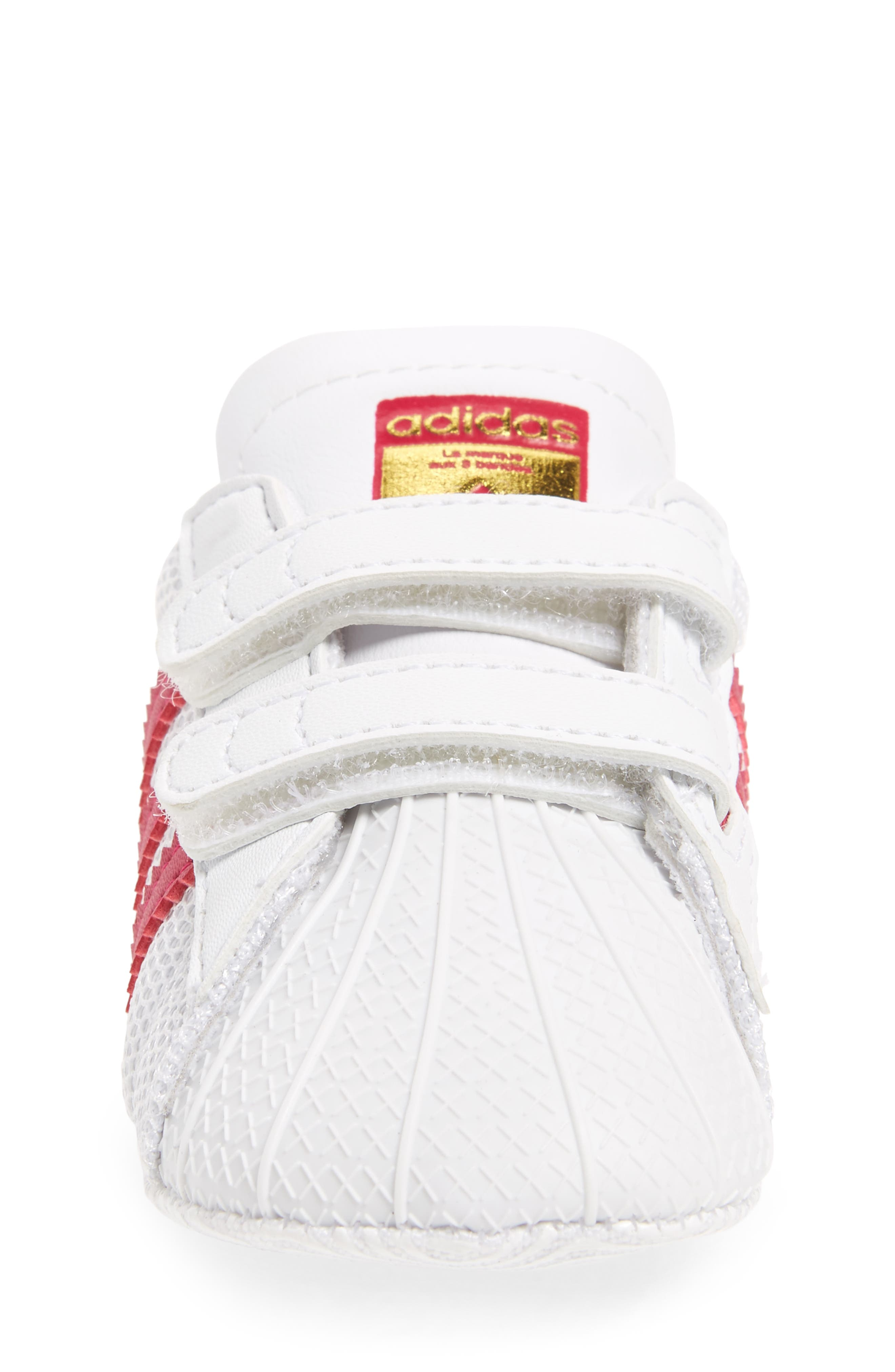 ADIDAS, Superstar Sneaker, Alternate thumbnail 4, color, WHITE/ PINK