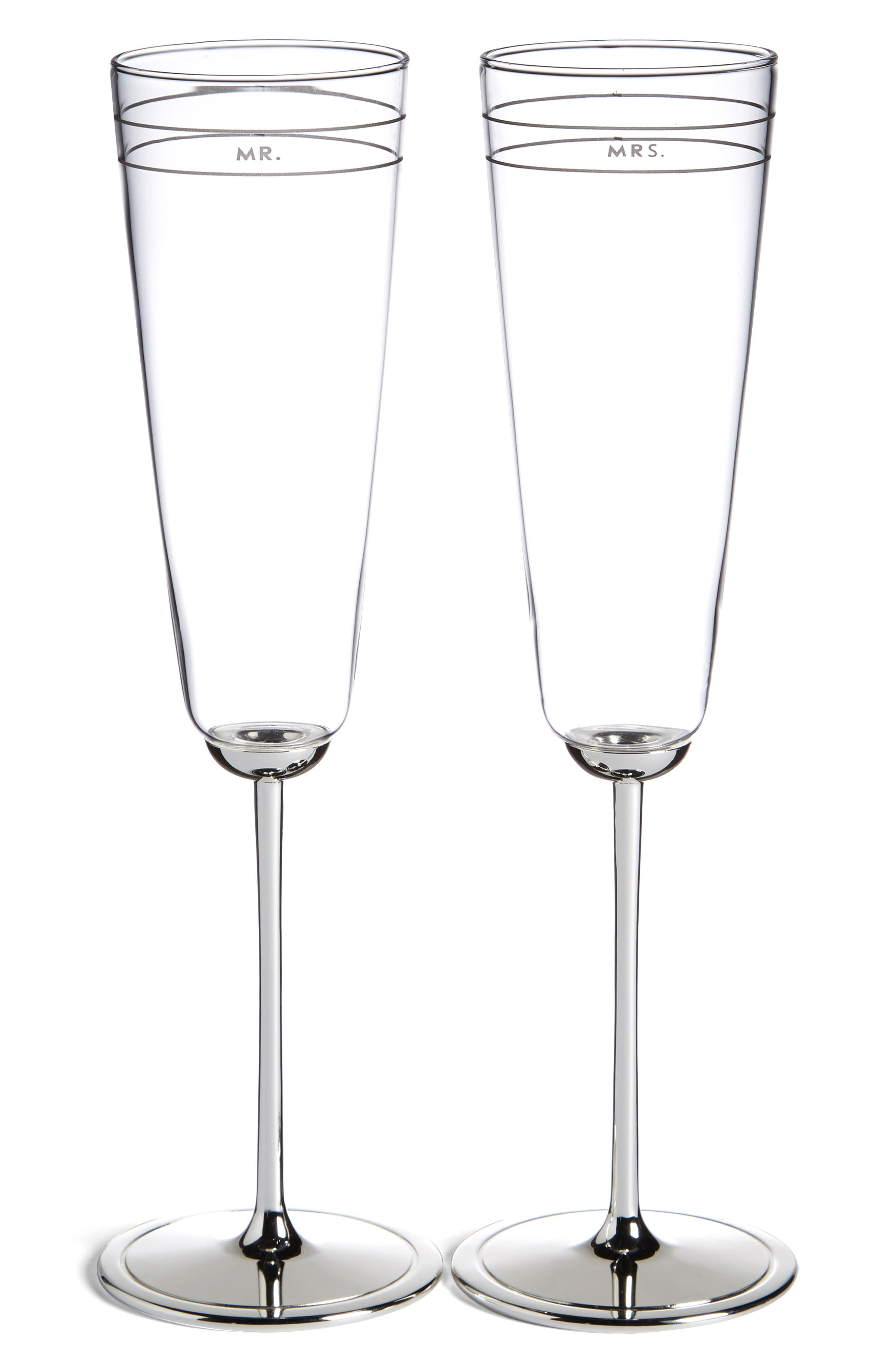 KATE SPADE NEW YORK, 'darling point' champagne flutes, Main thumbnail 1, color, NO COLOR