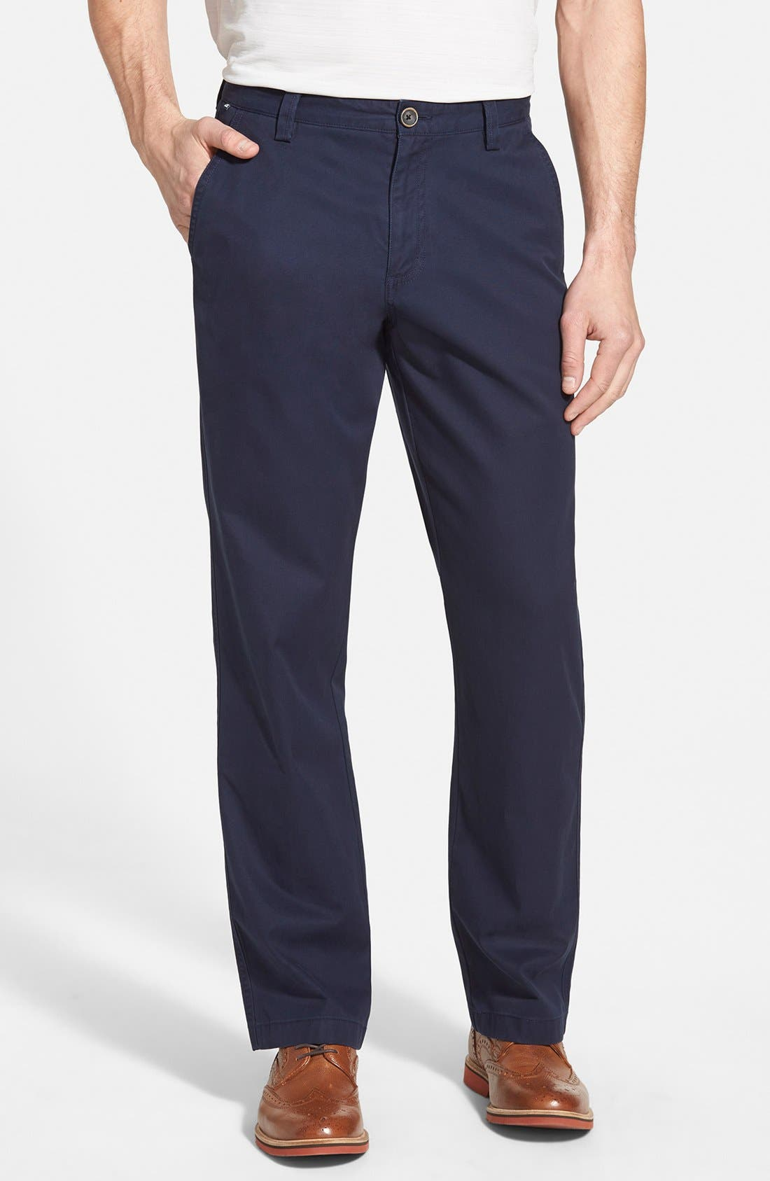 CUTTER & BUCK, Beckett Straight Leg Washed Cotton Pants, Main thumbnail 1, color, LIBERTY NAVY