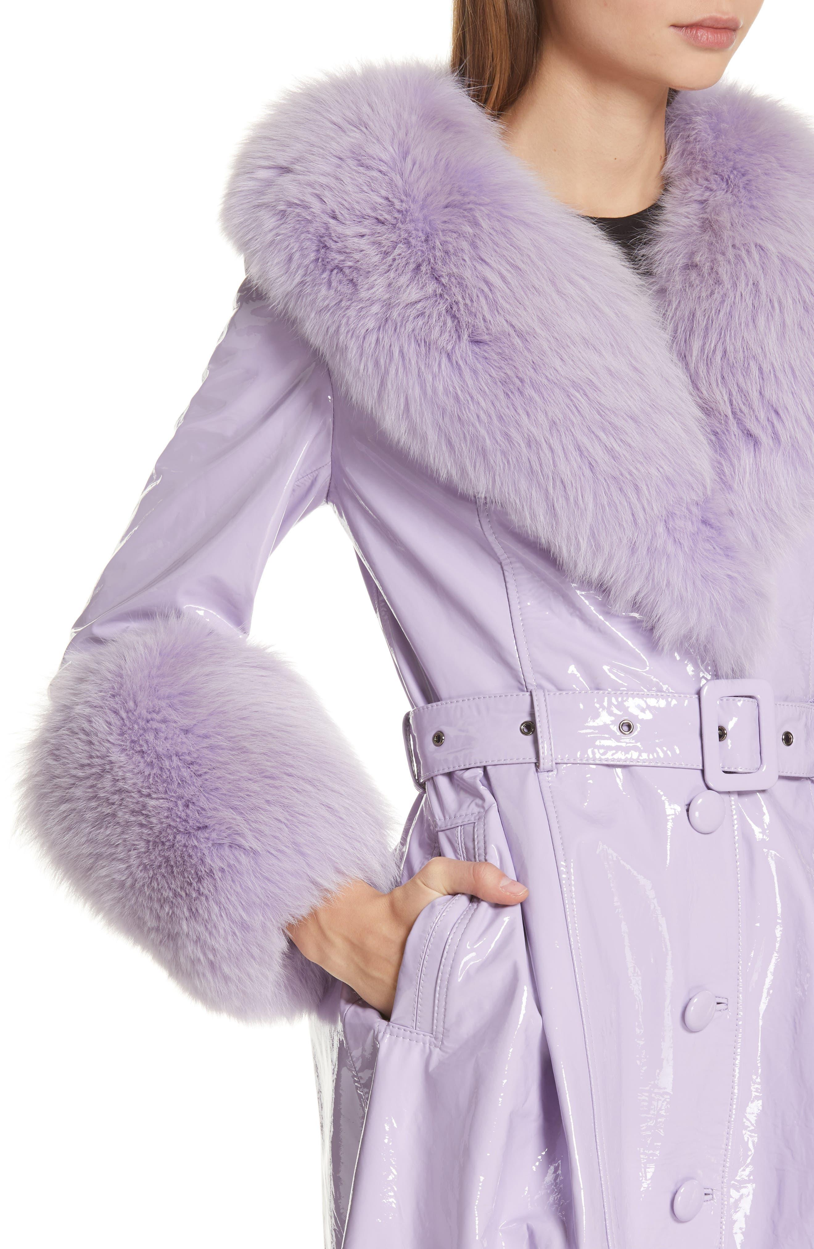 SAKS POTTS, Patent Leather Coat with Genuine Fox Fur Trim, Alternate thumbnail 5, color, LAVENDER