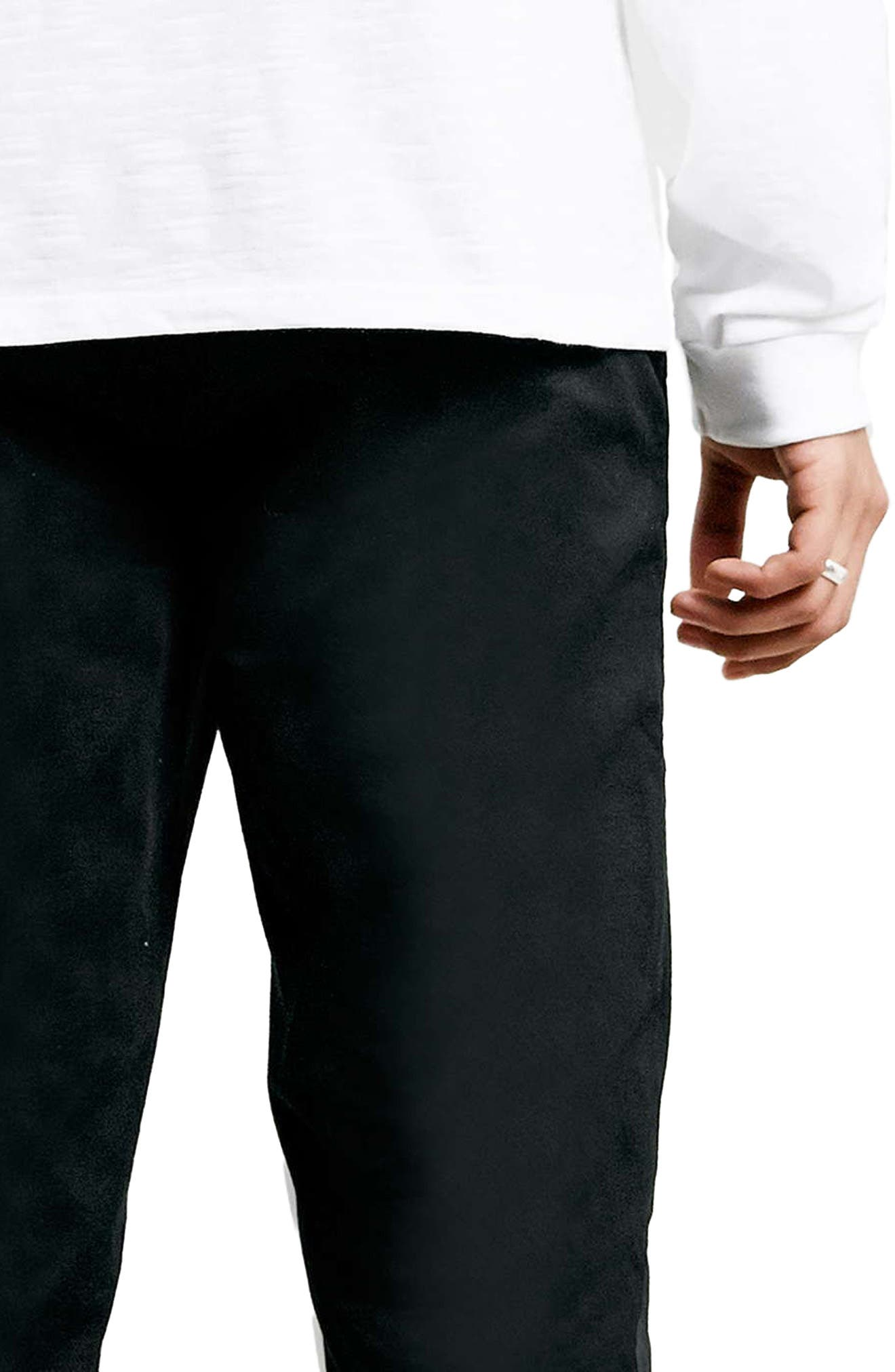 TOPMAN, Stretch Skinny Fit Chinos, Alternate thumbnail 4, color, BLACK