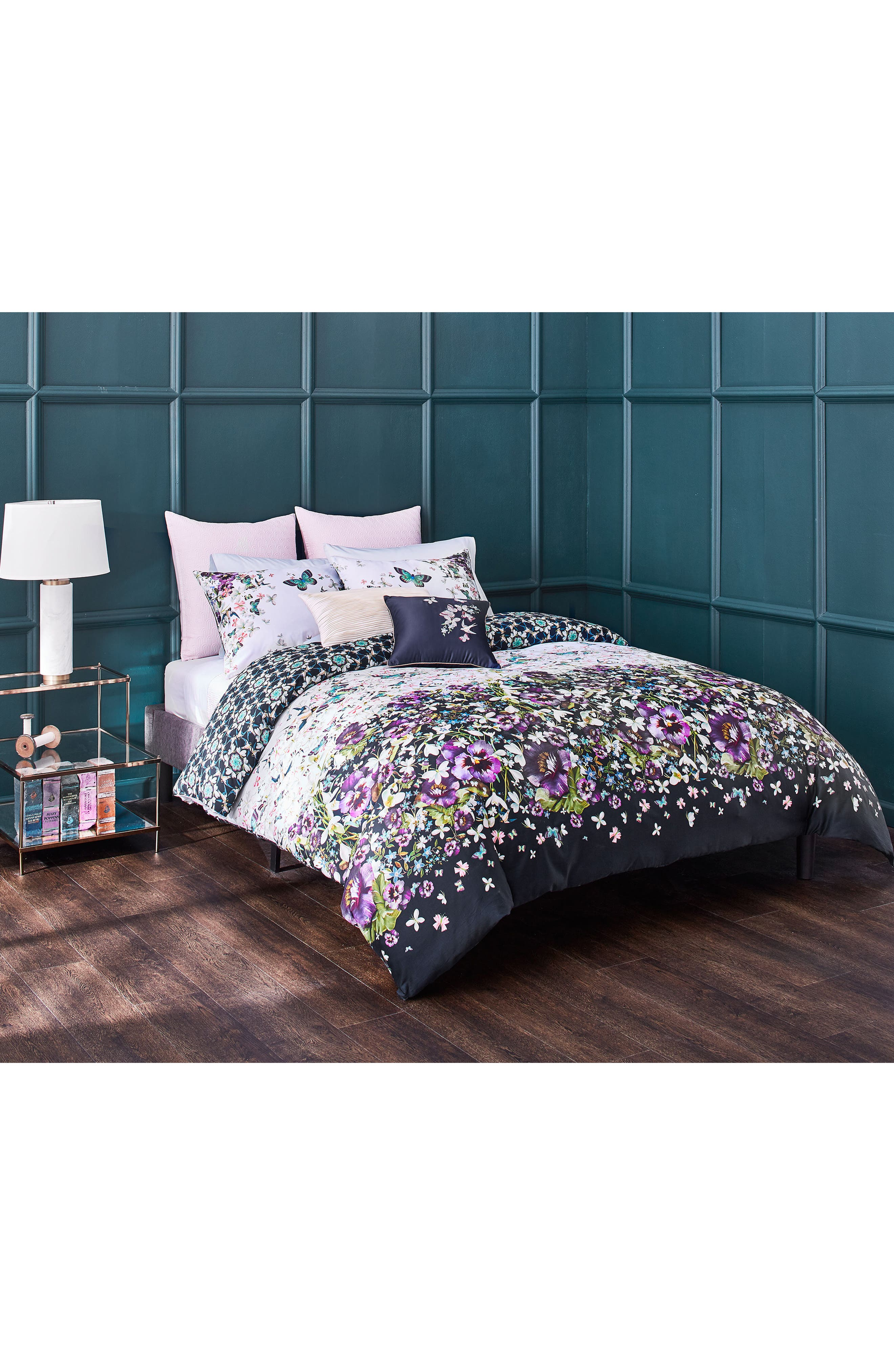 TED BAKER LONDON, Entangled Enchantment Comforter & Sham Set, Alternate thumbnail 4, color, SKY