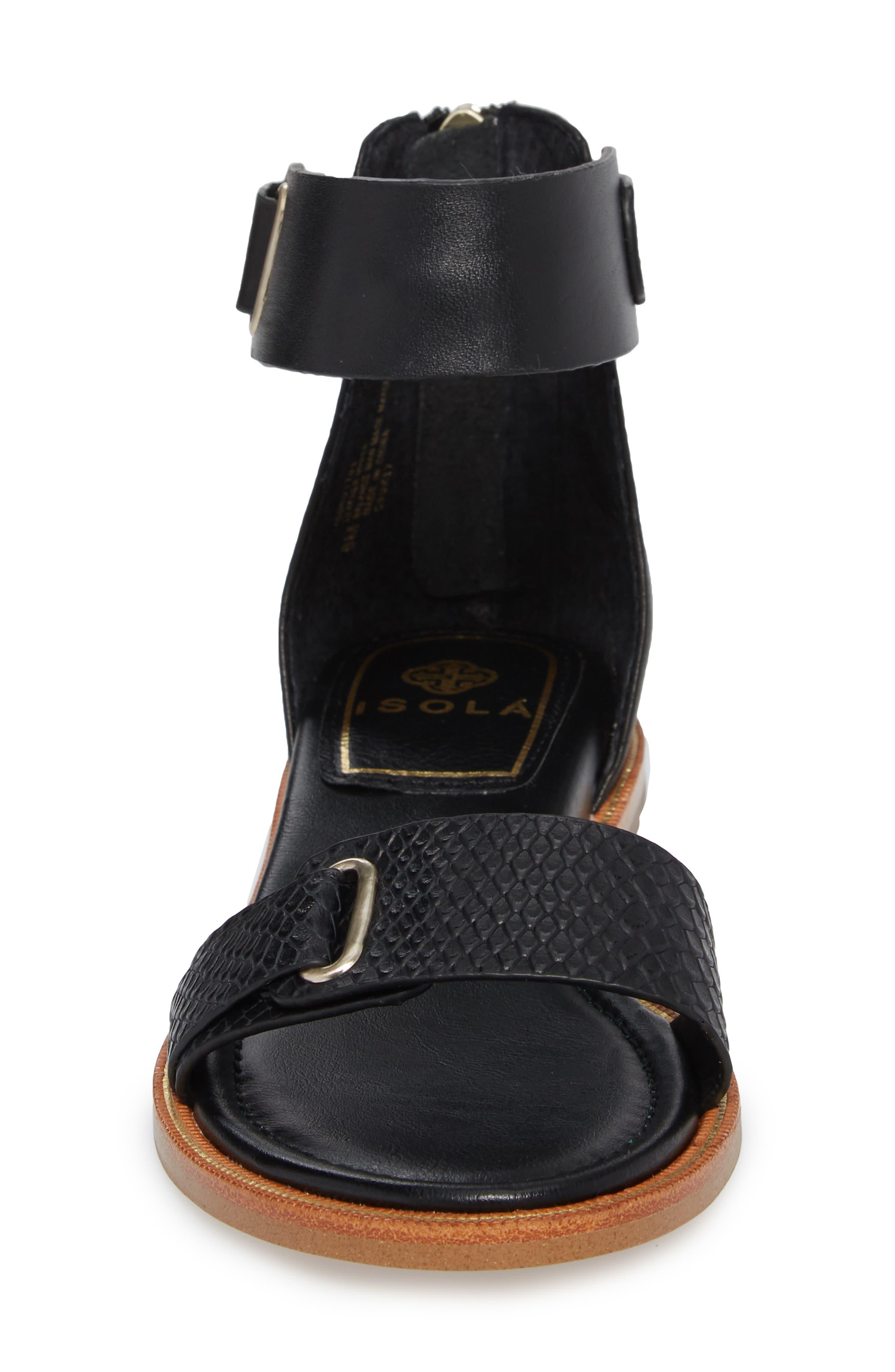 ISOLÁ, Savina Ankle Strap Sandal, Alternate thumbnail 4, color, BLACK LEATHER