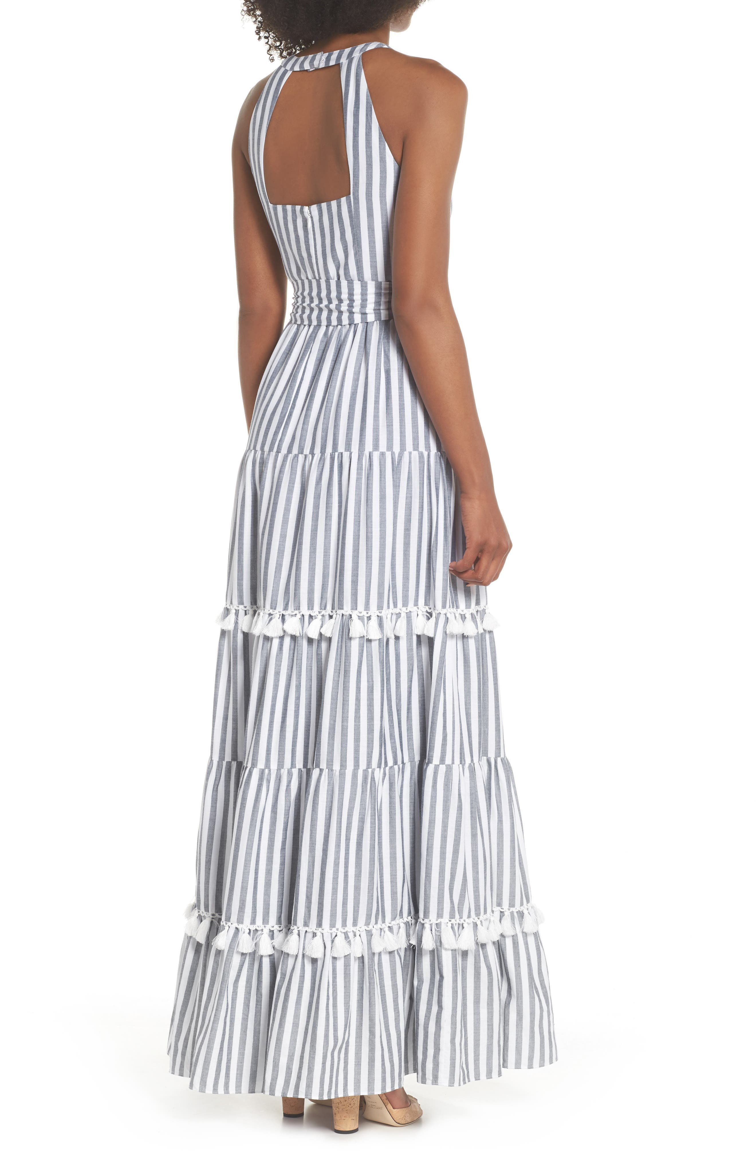 ELIZA J, Tiered Tassel Fringe Cotton Maxi Dress, Alternate thumbnail 2, color, IVORY/ GREY