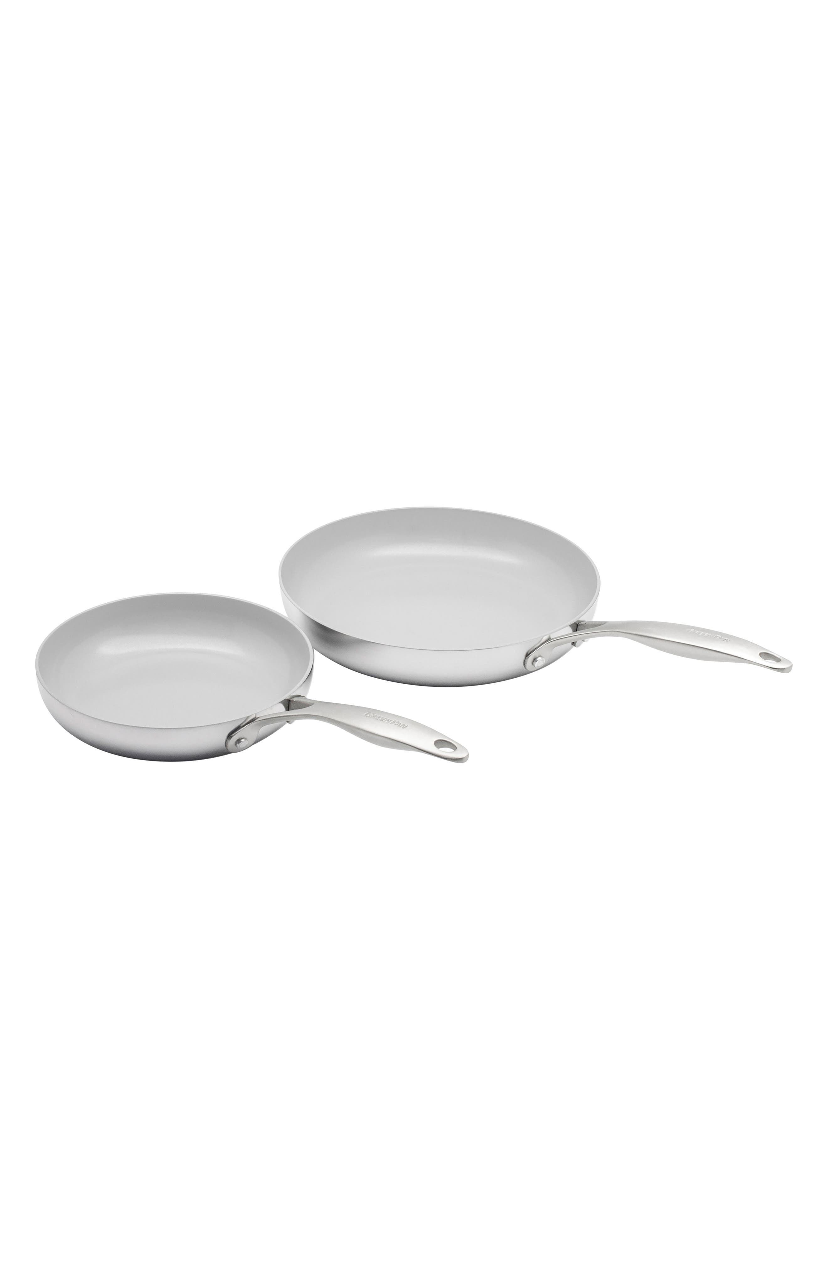 GREENPAN, Venice Pro 8-Inch & 10-Inch Multilayer Stainless Steel Ceramic Nonstick Frying Pan Set, Main thumbnail 1, color, STAINLESS STEEL