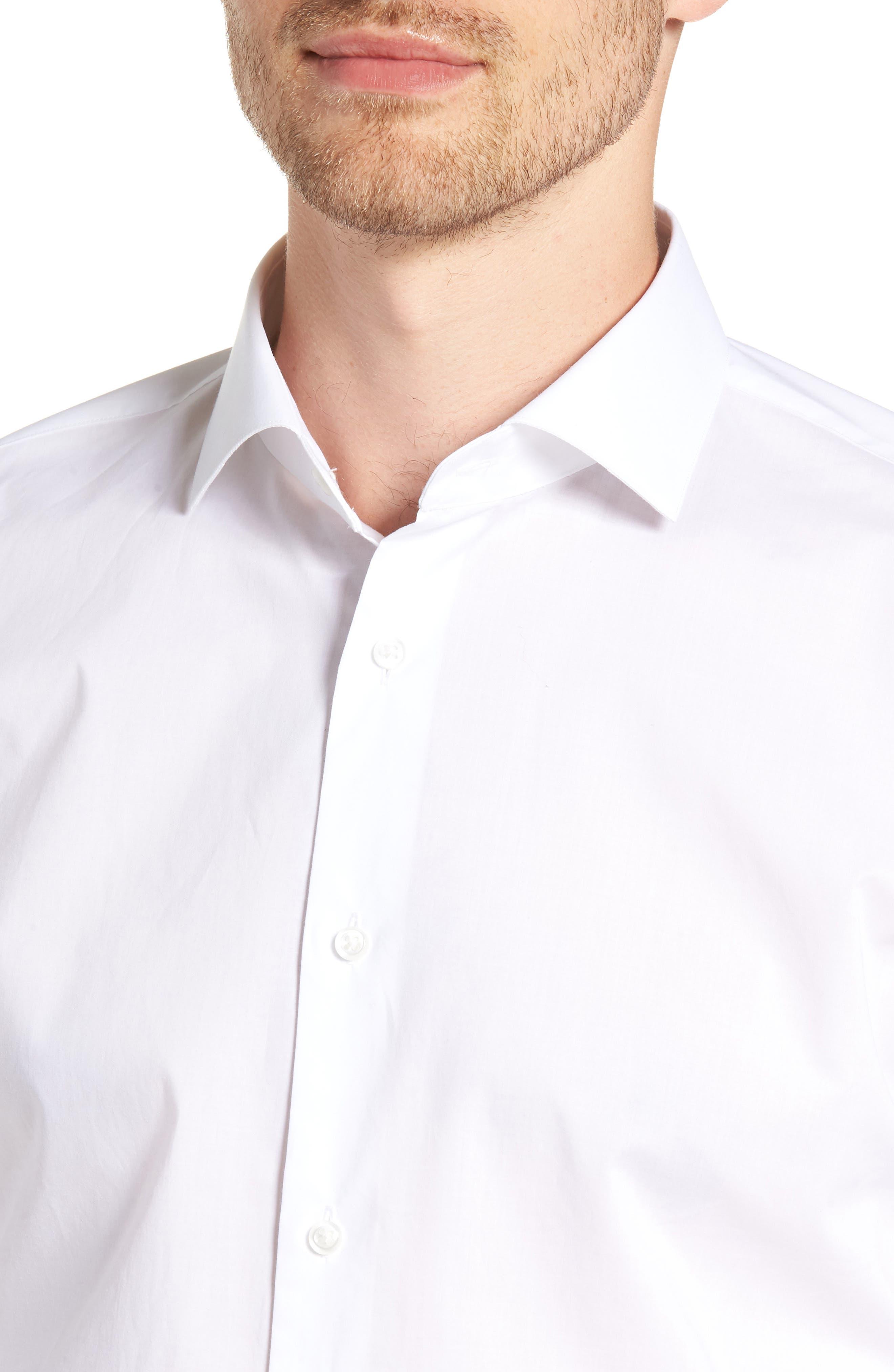 1901, Trim Fit Solid Dress Shirt, Alternate thumbnail 2, color, WHITE
