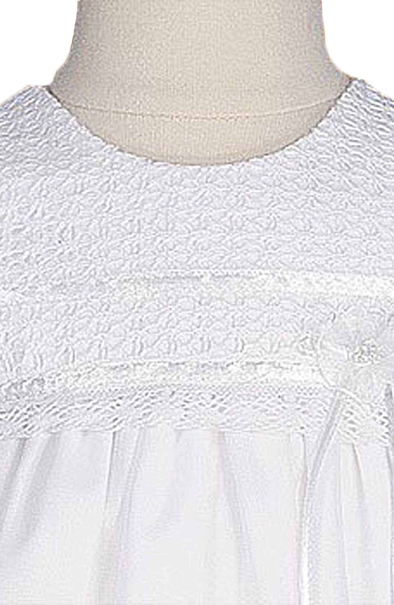 LITTLE THINGS MEAN A LOT, Christening Gown & Hat Set, Alternate thumbnail 2, color, WHITE