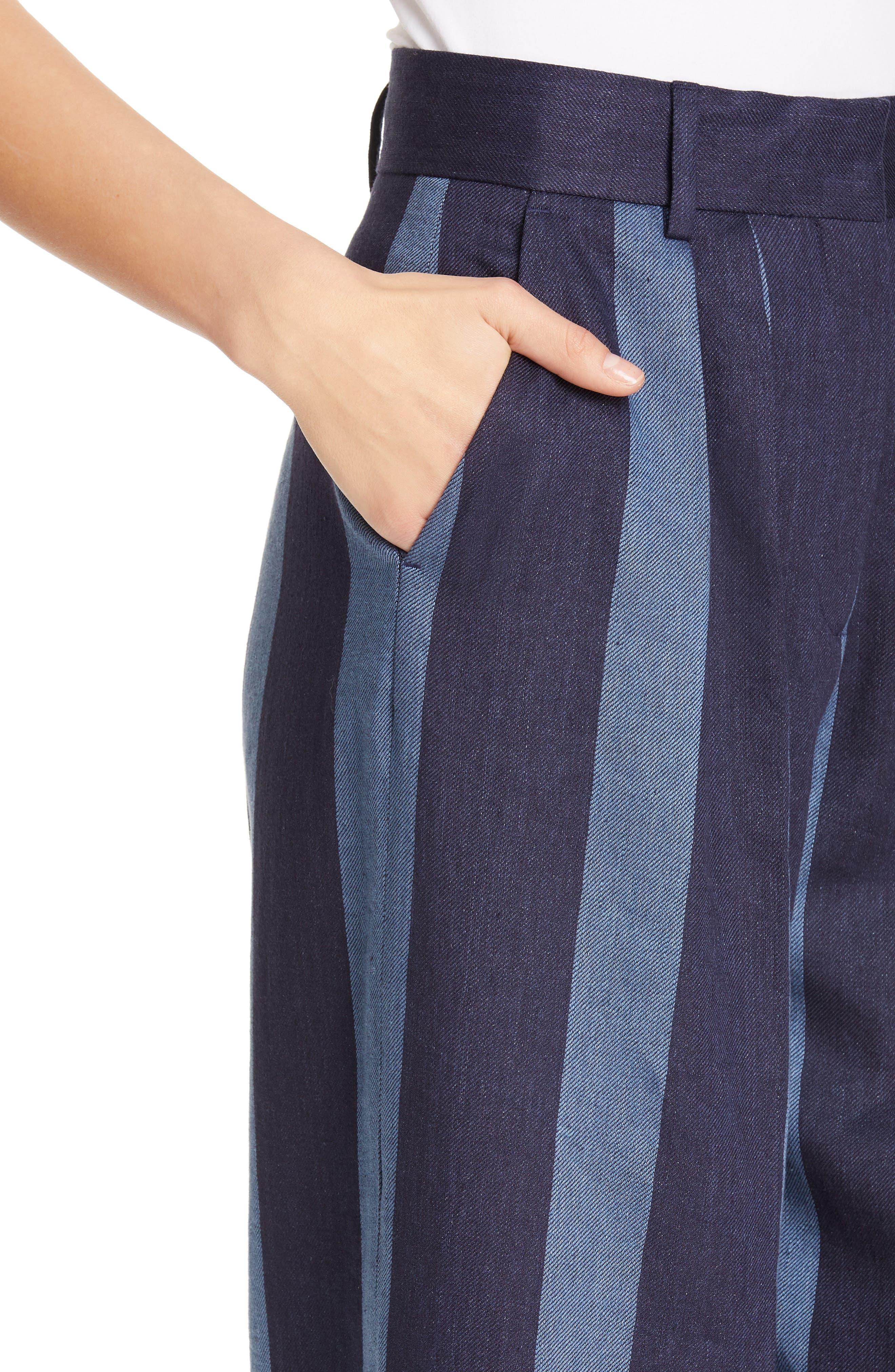 TOMMY X ZENDAYA, Stripe Denim Pants, Alternate thumbnail 5, color, STRIPED DENIM
