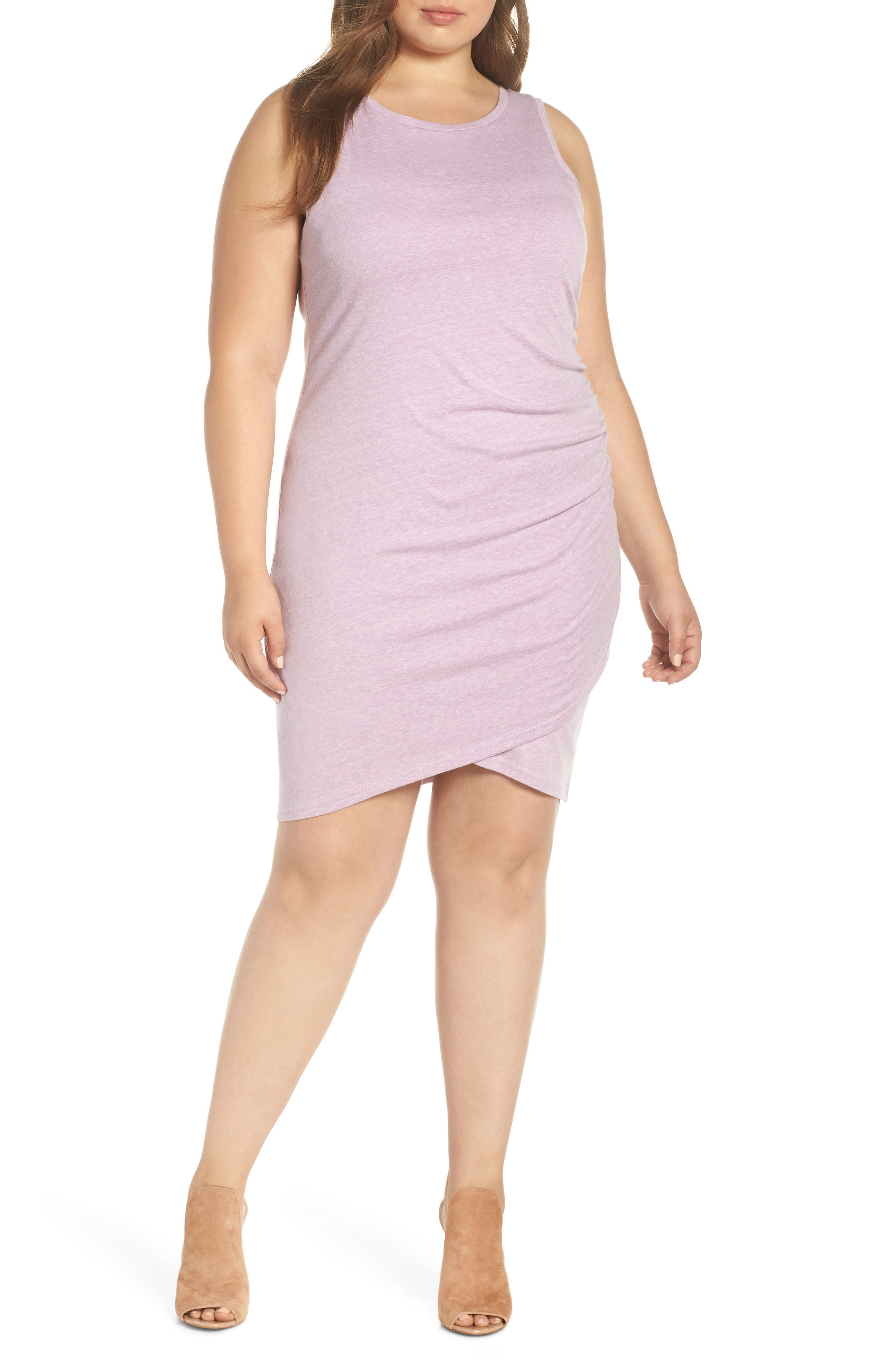 LEITH Ruched Sheath Dress, Main, color, PURPLE GALE HEATHER