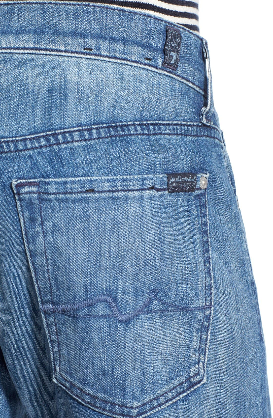 7 FOR ALL MANKIND<SUP>®</SUP>, Luxe Performance - Austyn Relaxed Straight Leg Jeans, Alternate thumbnail 6, color, NAKKITTA BLUE