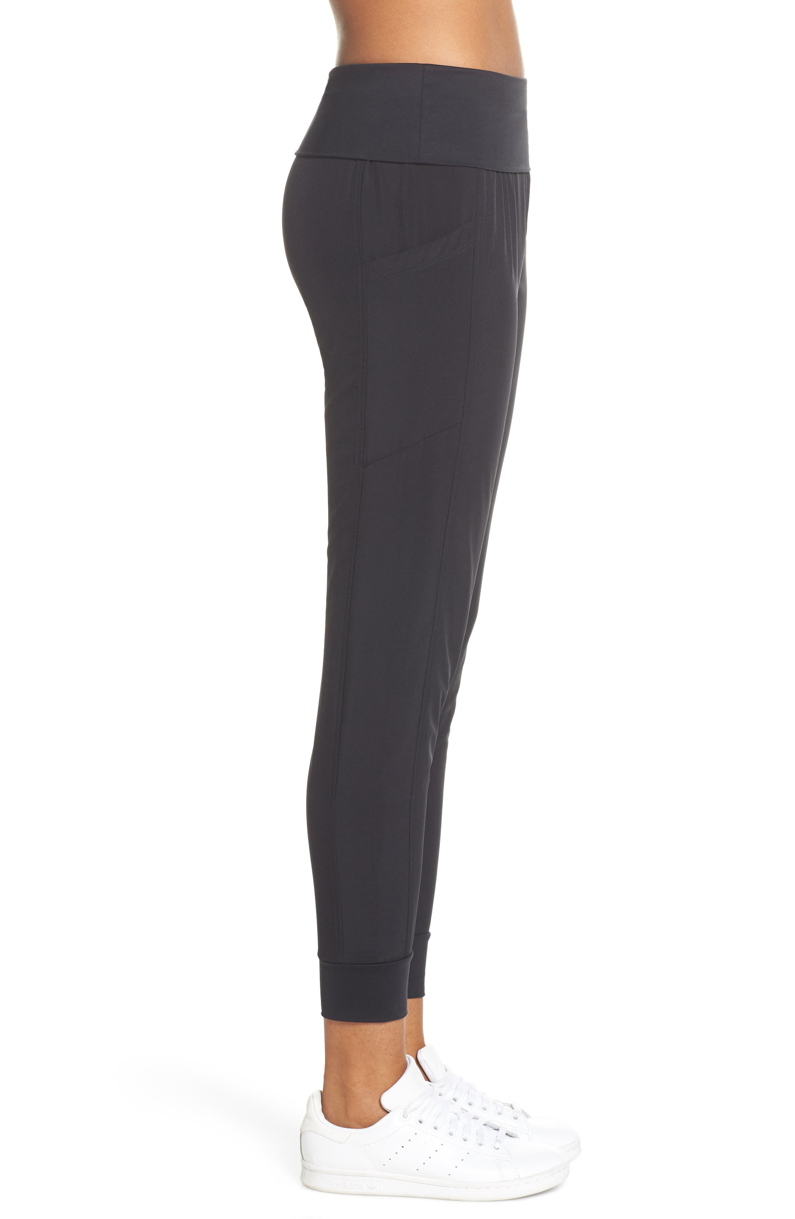 ZELLA, Urban Fold Down Waist Ankle Pants, Alternate thumbnail 5, color, BLACK