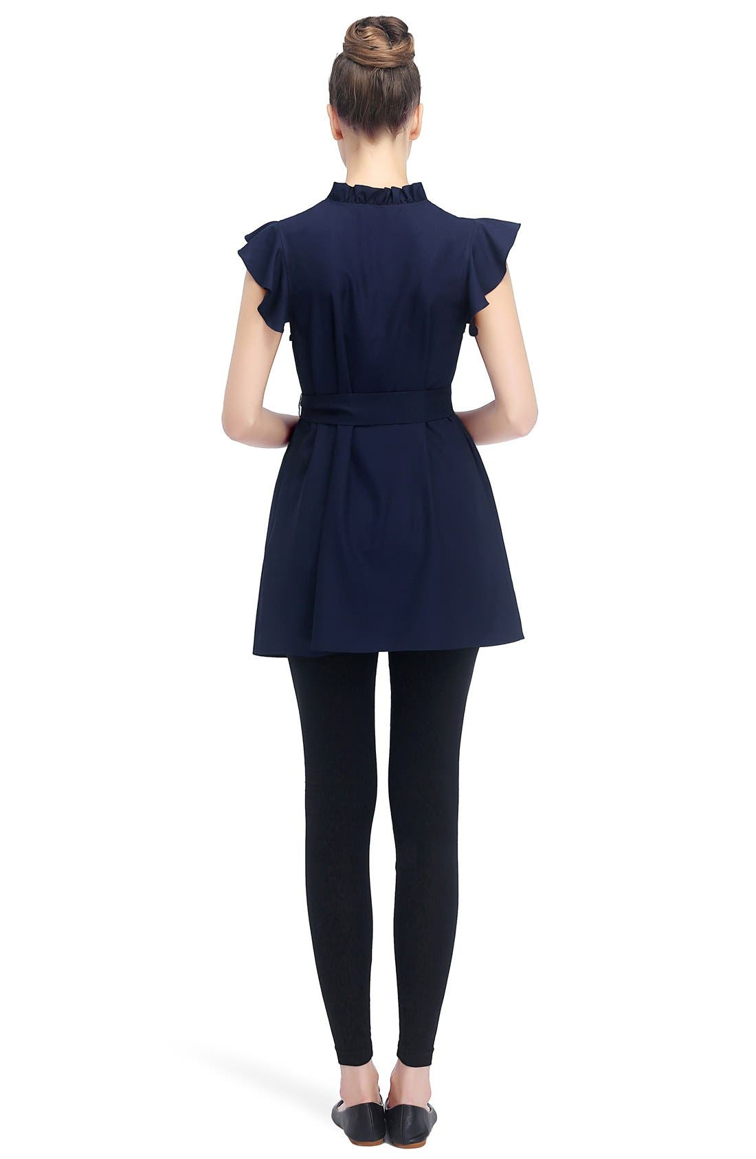KIMI AND KAI, Karlena Flutter Sleeve Belted Maternity Top, Alternate thumbnail 2, color, NAVY