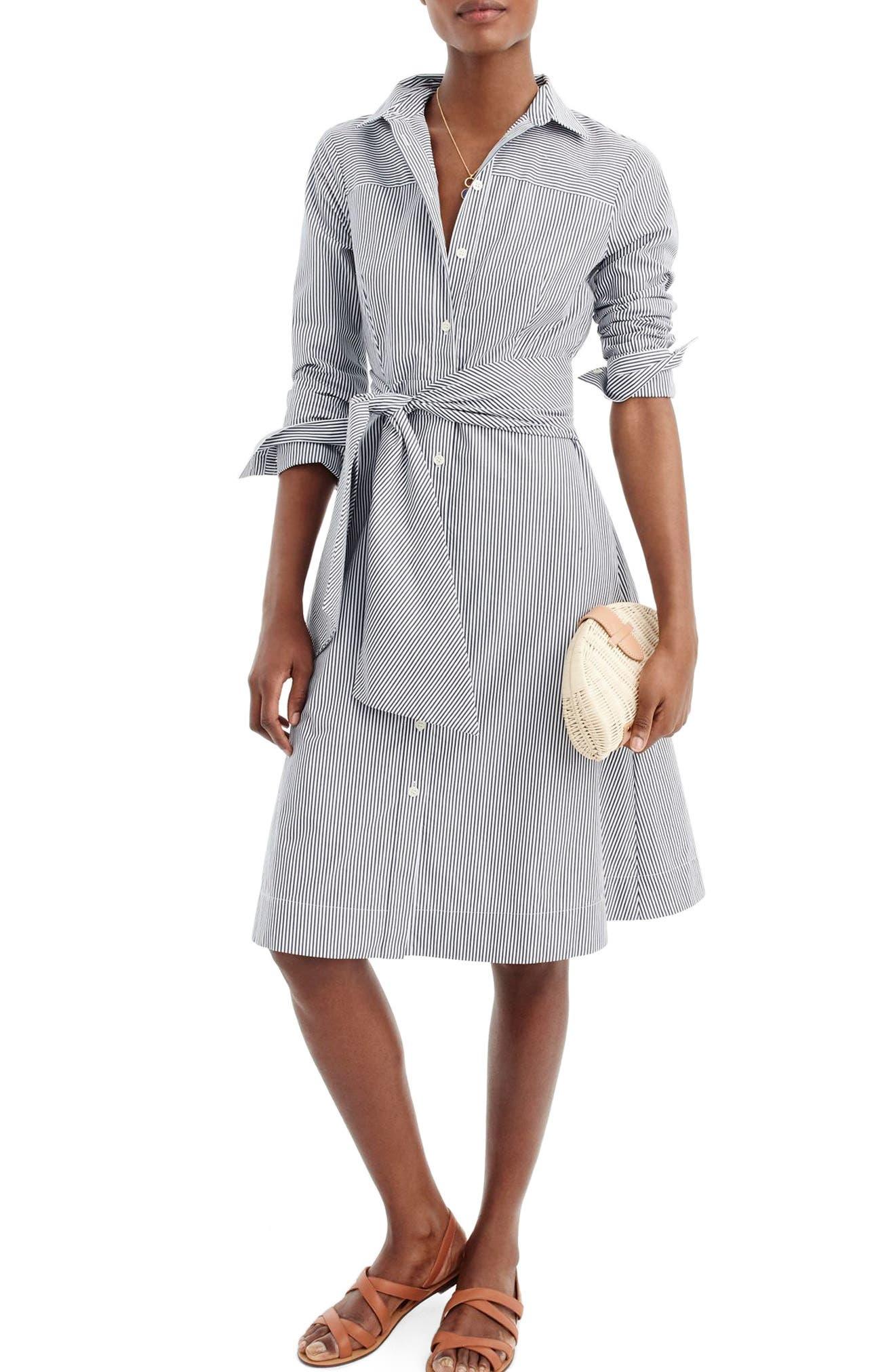 J.CREW Stripe Tie-Waist Shirtdress, Main, color, WHITE NAVY