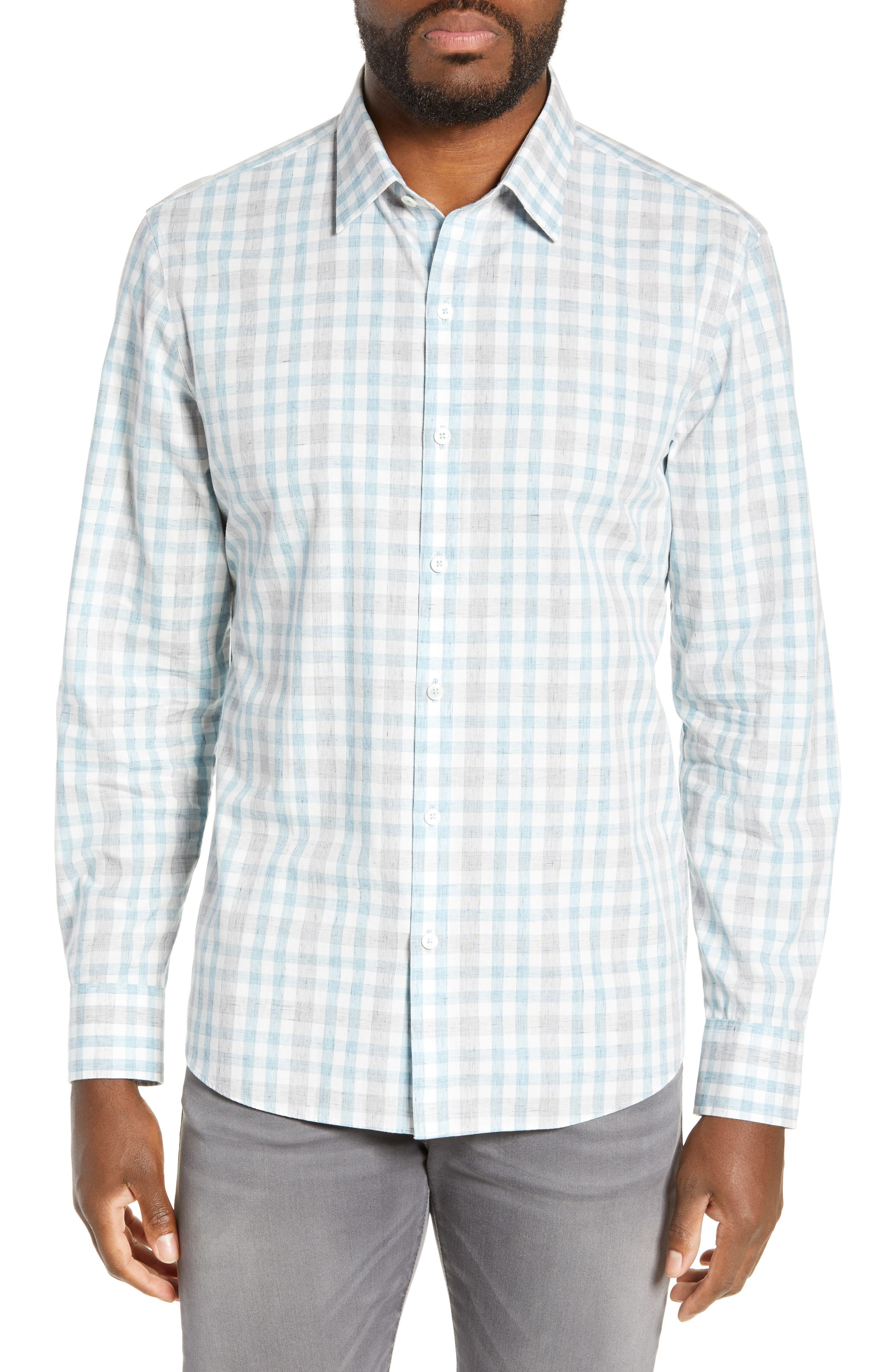 ZACHARY PRELL Regular Fit Plaid Sport Shirt, Main, color, LIGHT BLUE