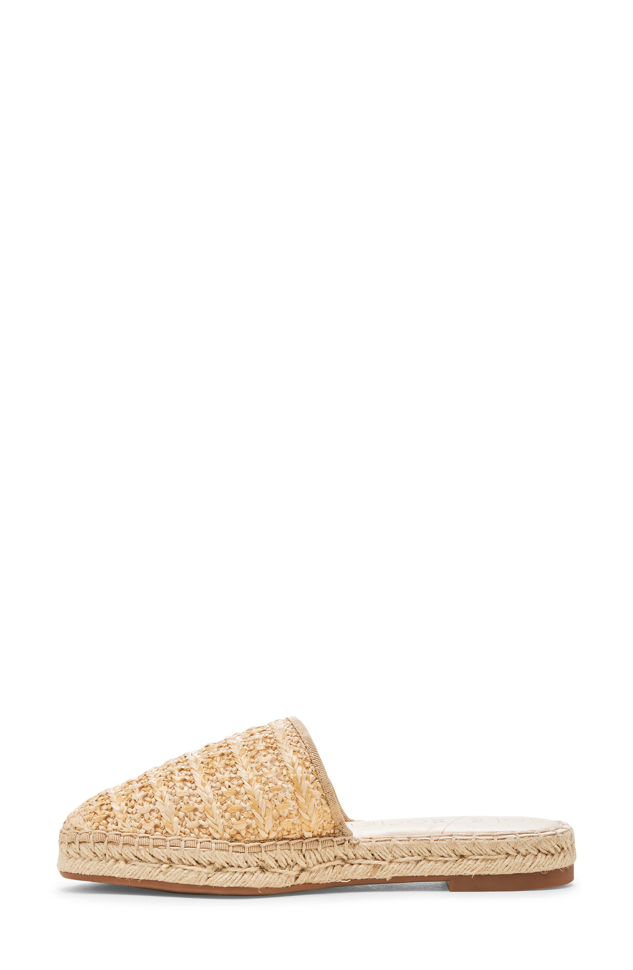 SOLE SOCIETY, Sadelle Espadrille Mule, Alternate thumbnail 9, color, NATURAL FABRIC