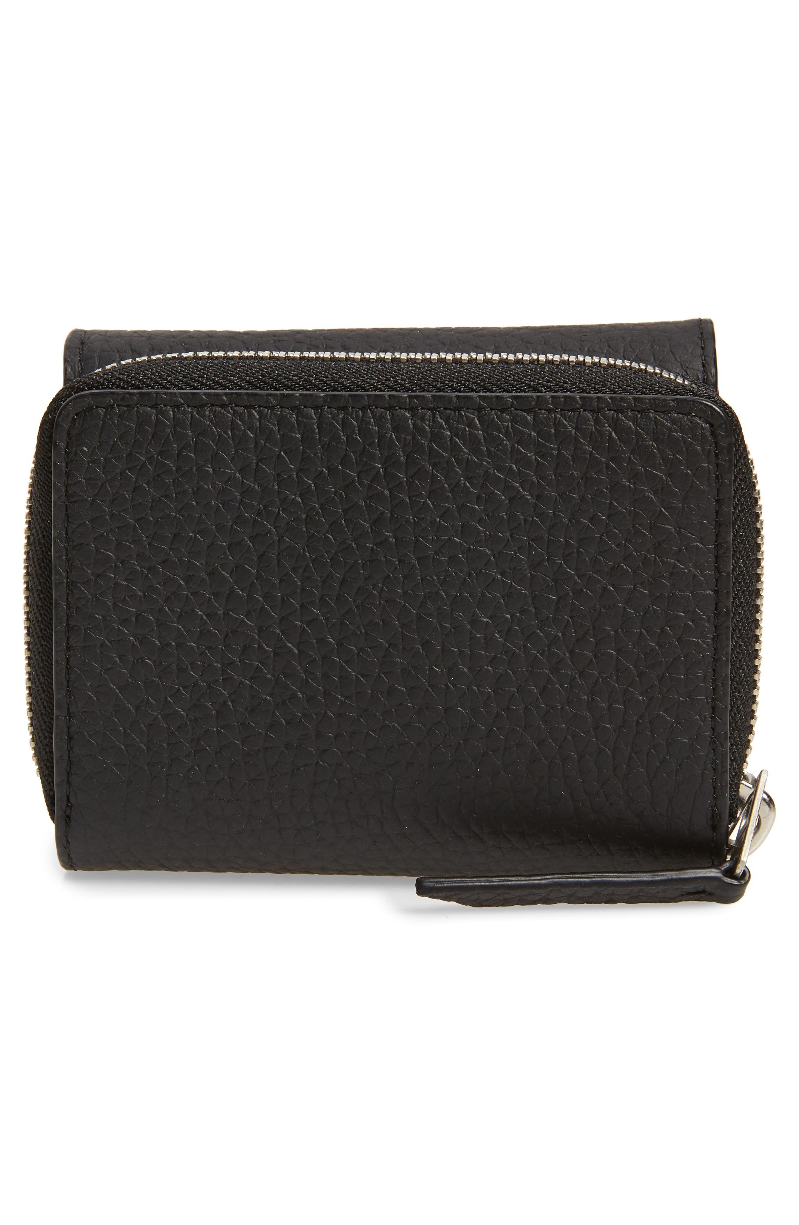 ALLSAINTS, Captain Leather Trifold Wallet, Alternate thumbnail 4, color, BLACK