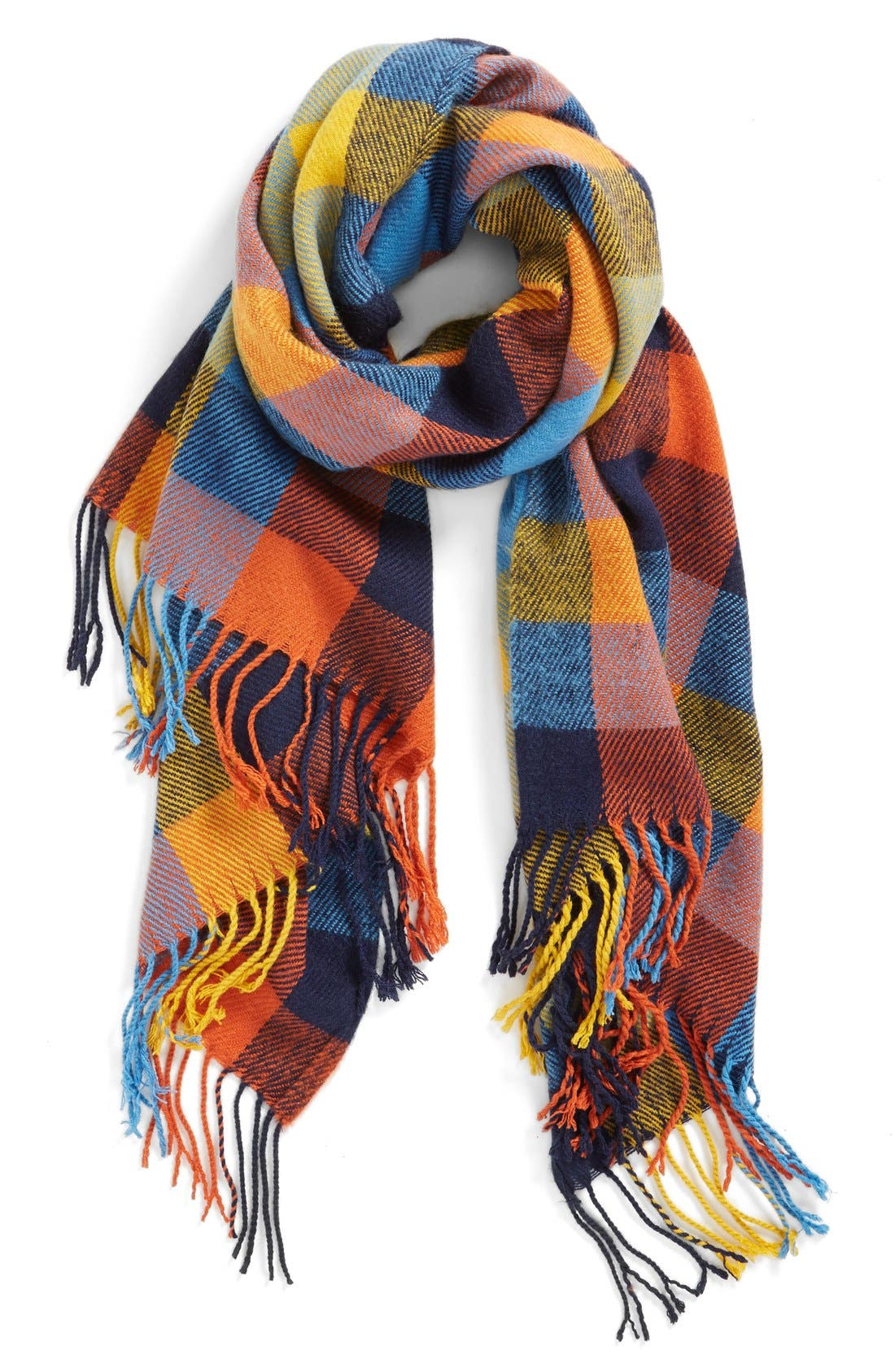 RENÉE'S ACCESSORIES, Renee's Accessories Plaid Fringe Scarf, Main thumbnail 1, color, 400