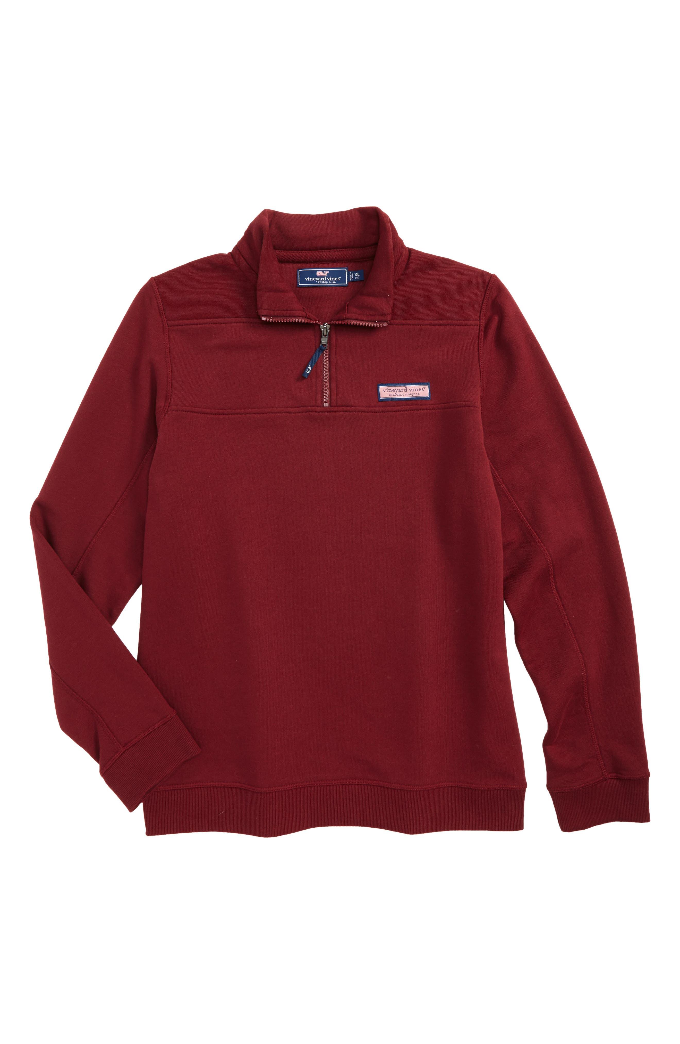 VINEYARD VINES, Classic Shep Quarter Zip Pullover, Main thumbnail 1, color, CRIMSON