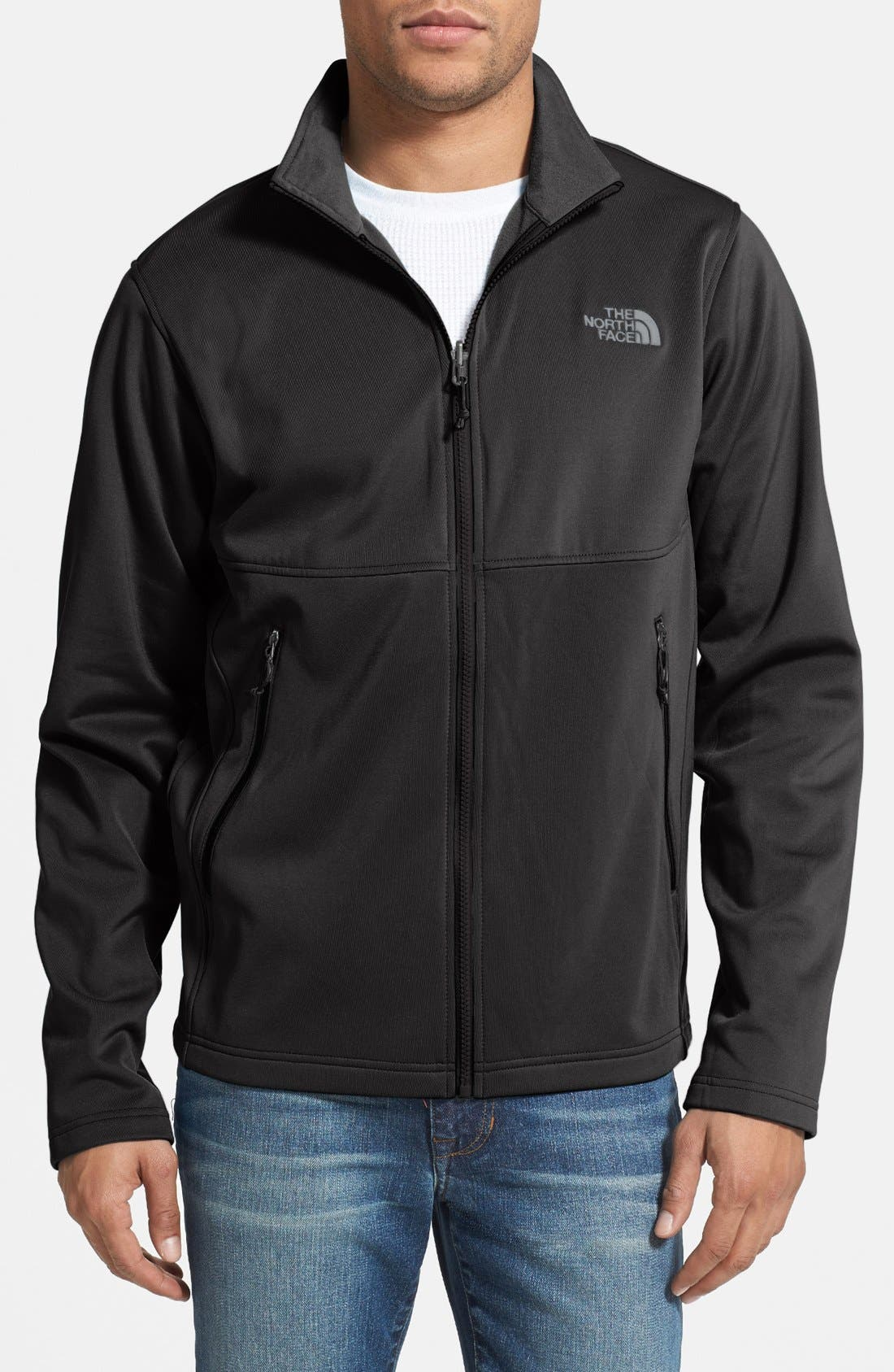 THE NORTH FACE, 'Momentum TriClimate' 3-in-1 Waterproof Hooded Jacket, Alternate thumbnail 4, color, 001