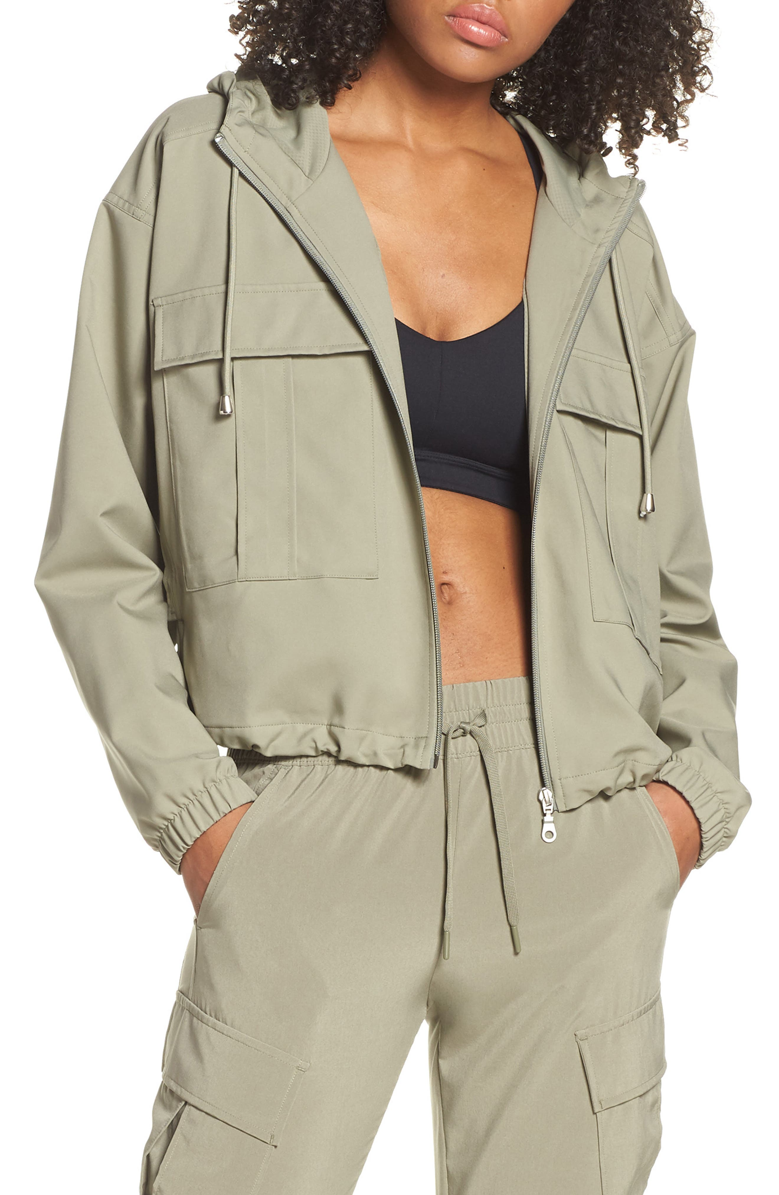 ZELLA Cameron Cargo Hooded Bomber Jacket, Main, color, GREEN VETIVER