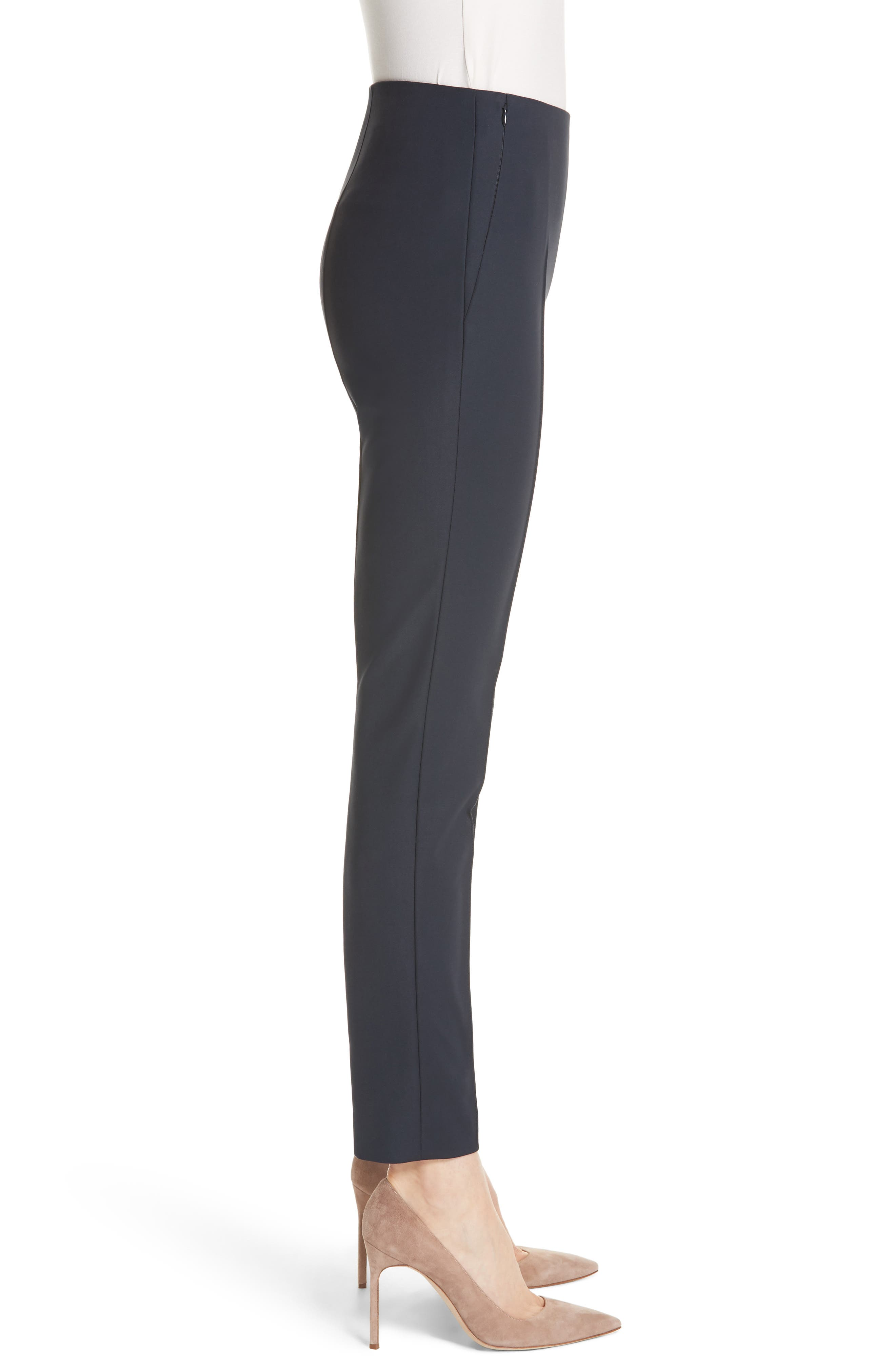 AKRIS, 'Melissa' Slim Techno Cotton Ankle Pants, Alternate thumbnail 5, color, NAVY