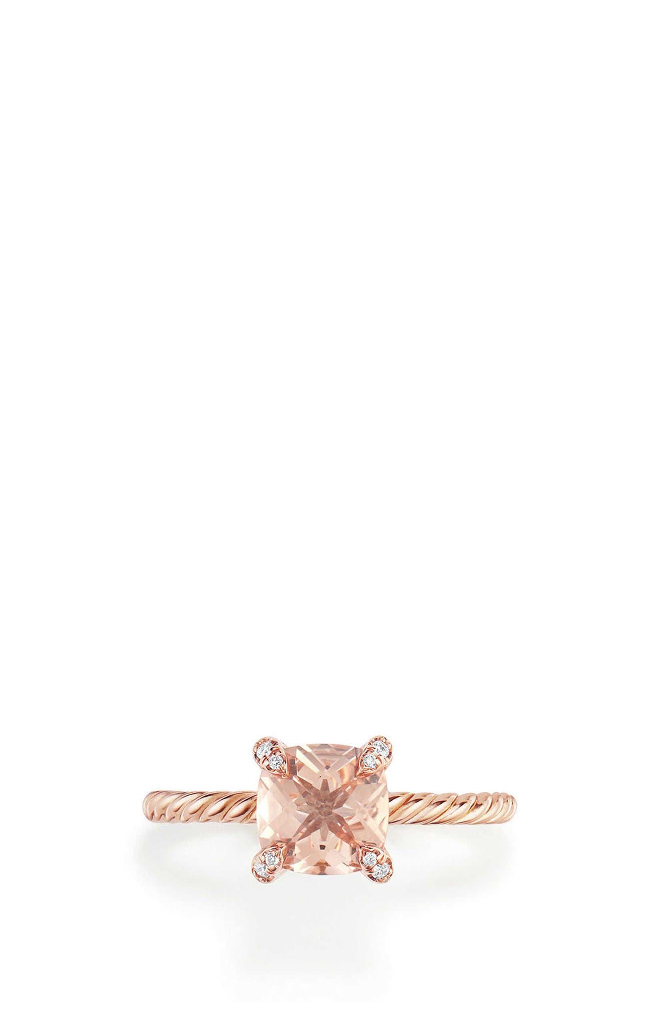 DAVID YURMAN Chatelaine Ring with Morganite and Diamonds in 18K Rose Gold, Main, color, ROSE GOLD/ DIAMOND/ MORGANITE