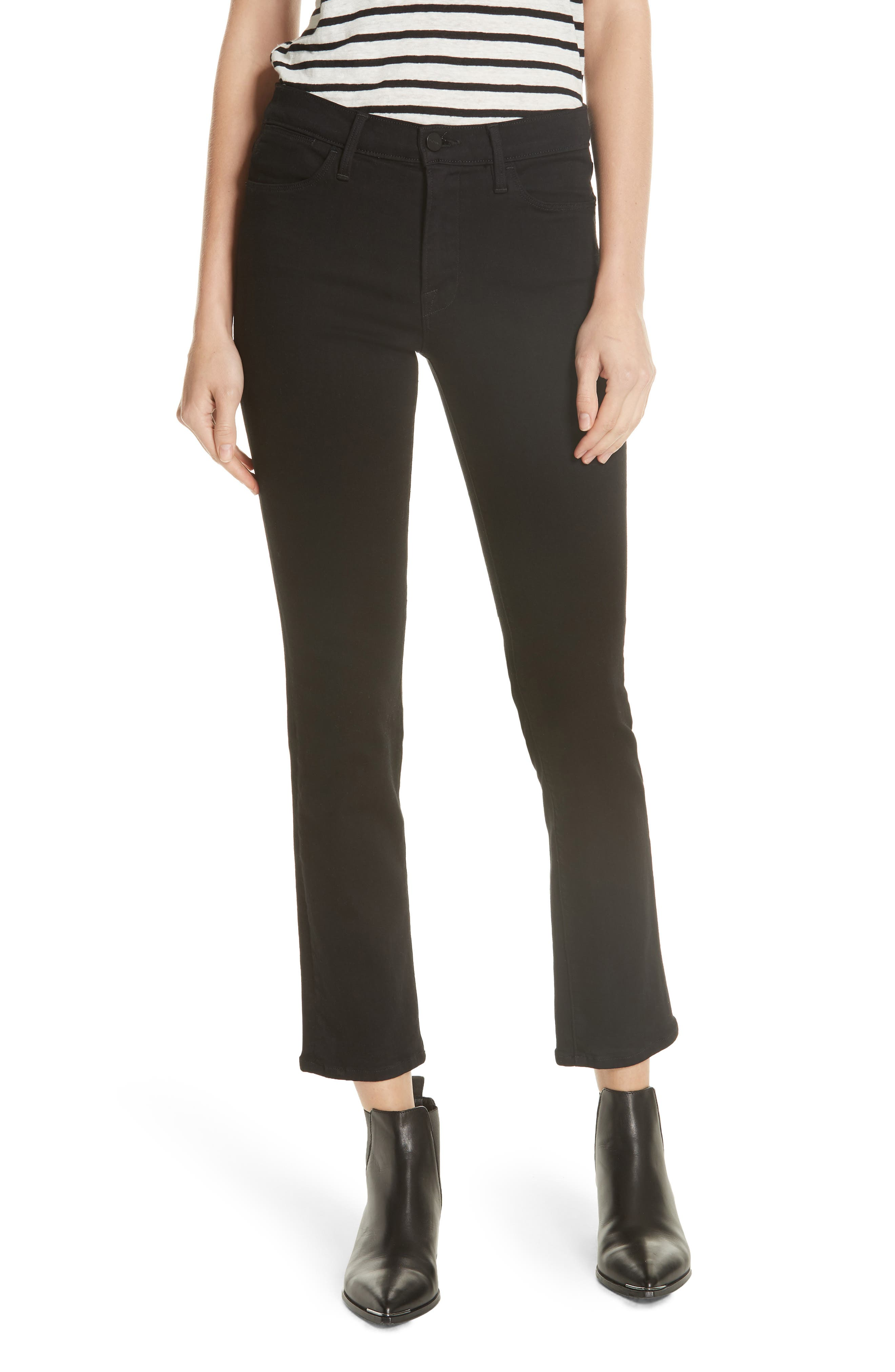 FRAME 'Le High Straight' High Rise Crop Jeans, Main, color, FILM NOIR