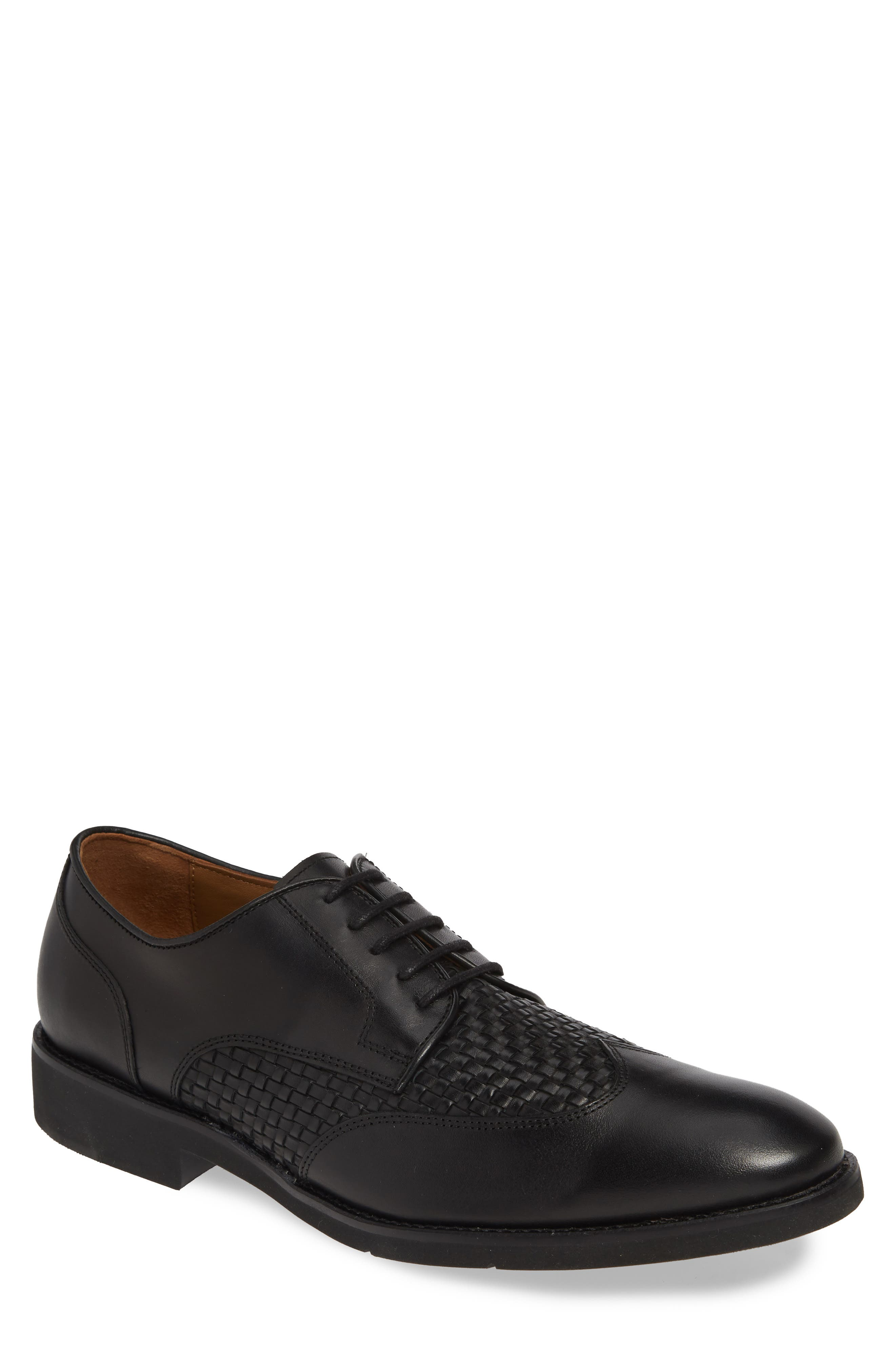 JOHNSTON & MURPHY Carlson Woven Wingtip Derby, Main, color, BLACK LEATHER