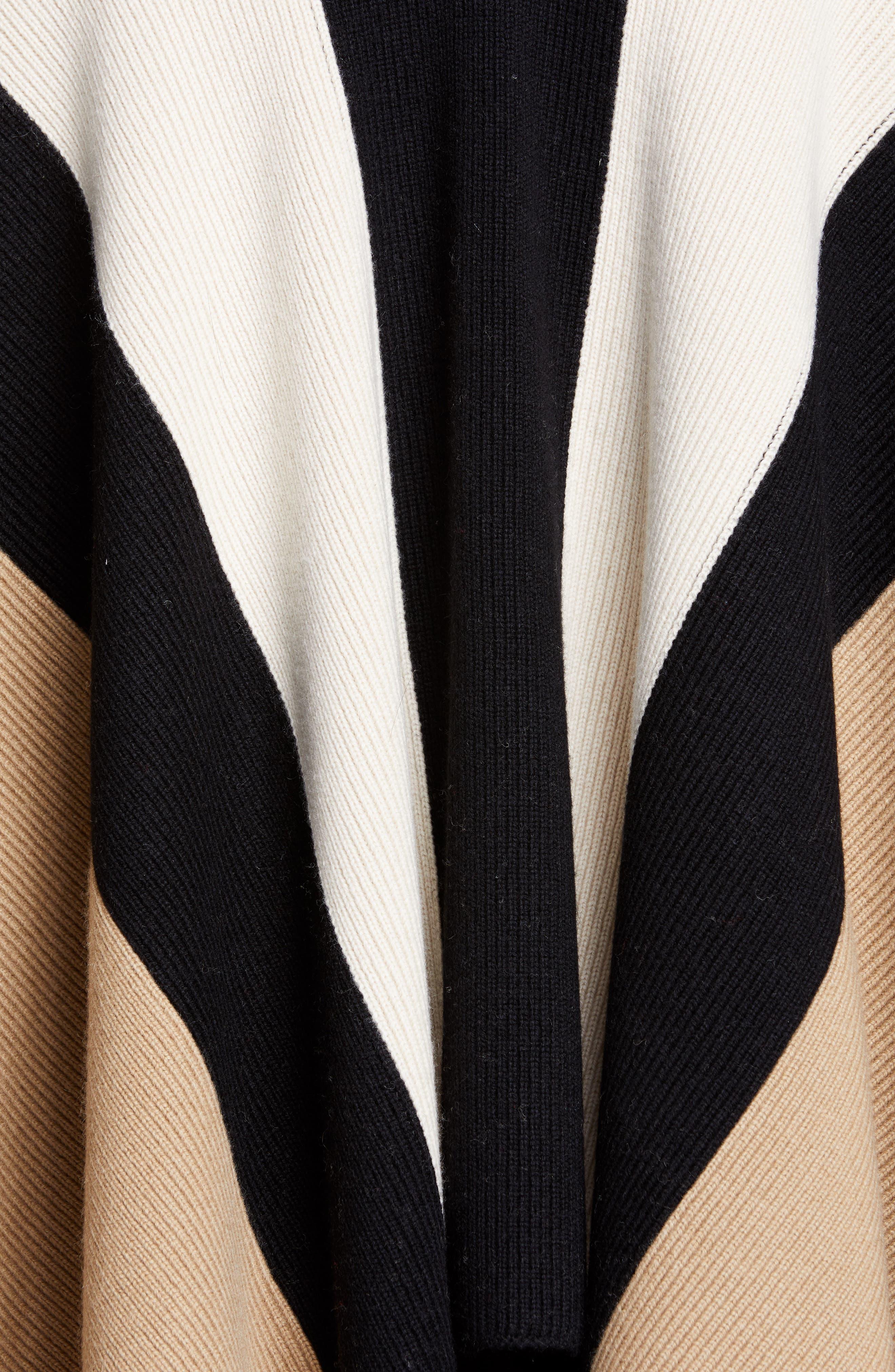 BURBERRY, Stripe Wool & Cashmere Cape, Alternate thumbnail 5, color, CAMEL