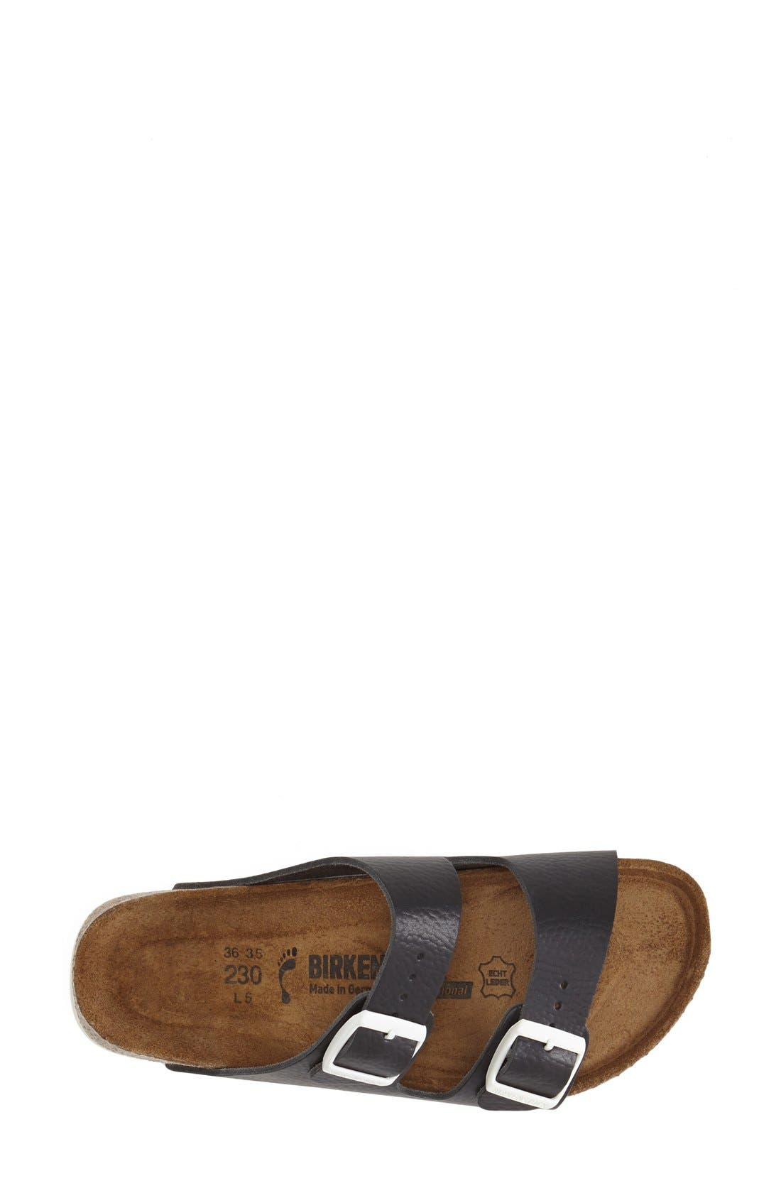 BIRKENSTOCK, 'Arizona' Leather Double Band Footbed Sandal, Alternate thumbnail 4, color, 001