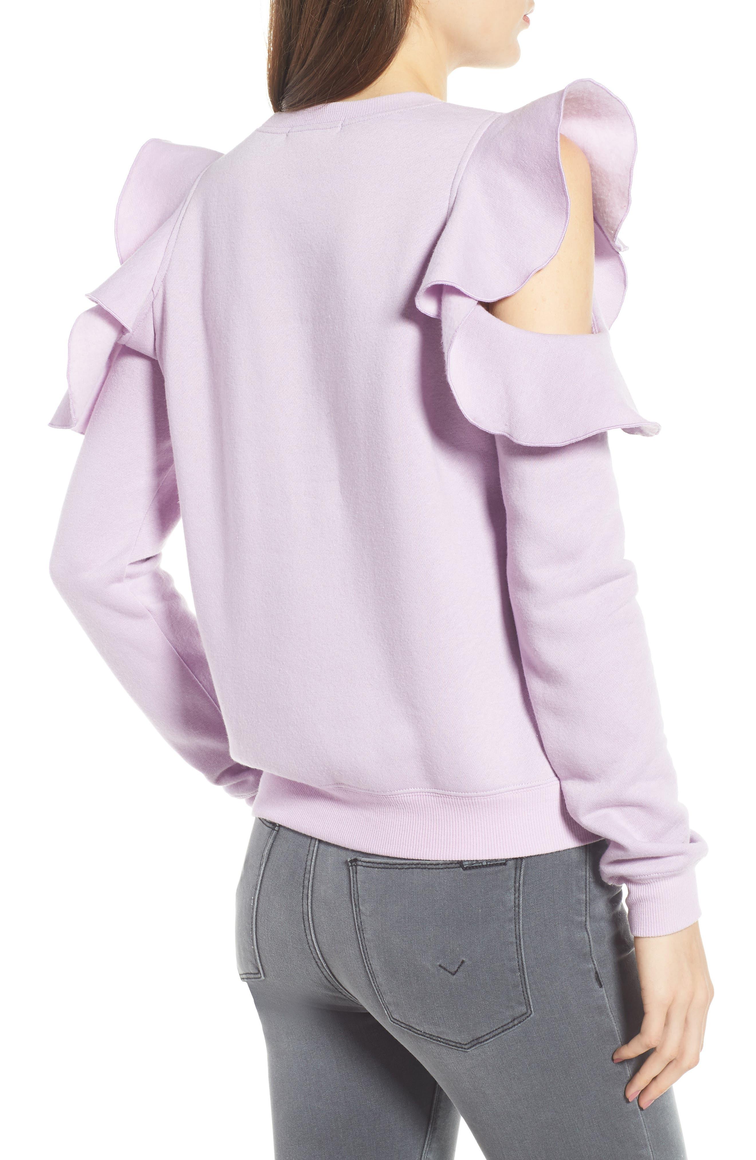 REBECCA MINKOFF, Gracie Cold Shoulder Sweatshirt, Alternate thumbnail 2, color, 502