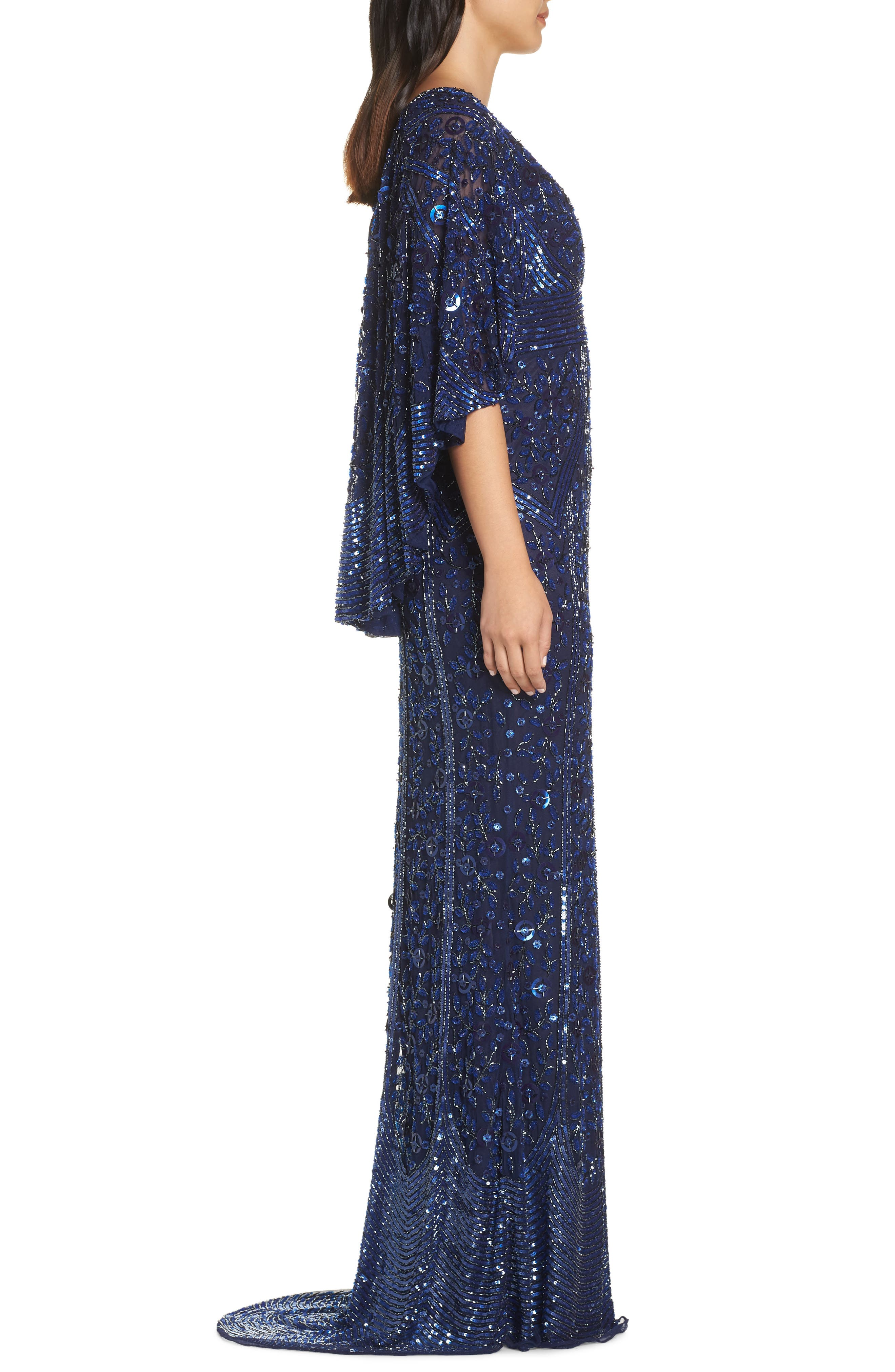 MAC DUGGAL, Sequin Cape Sleeve Evening Dress, Alternate thumbnail 4, color, MIDNIGHT