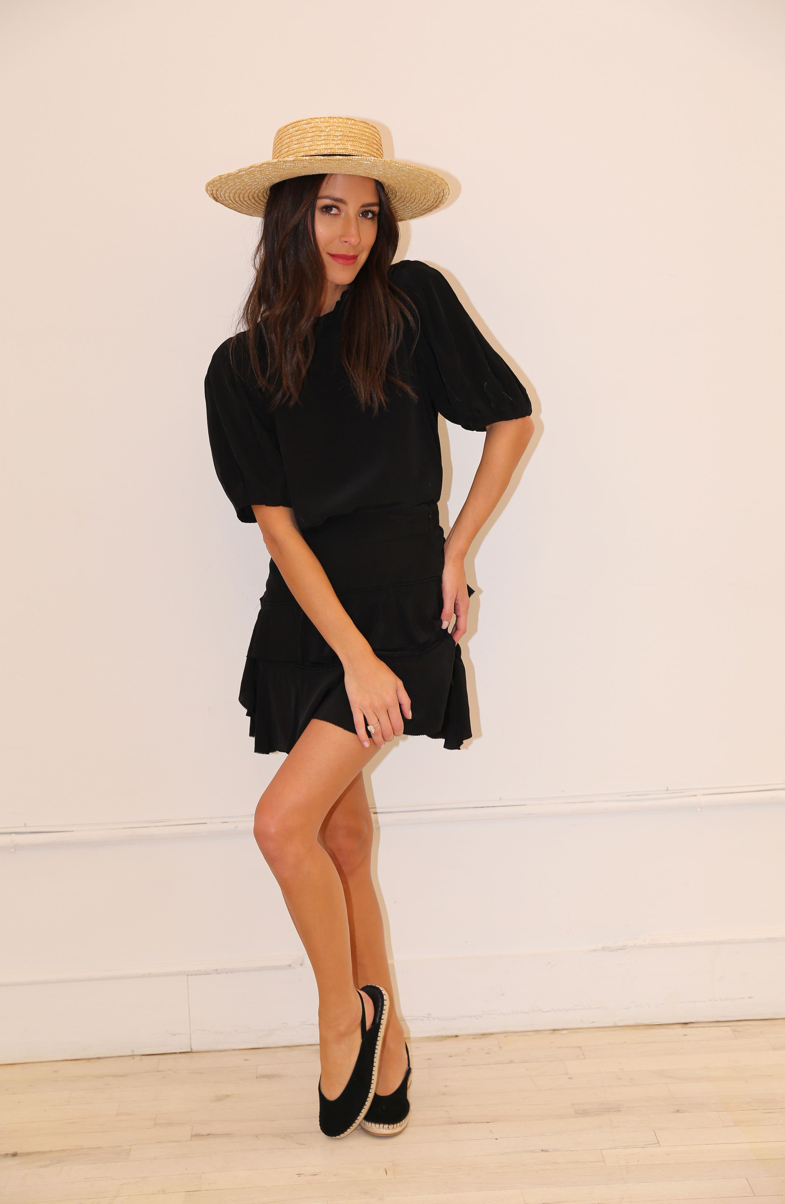 SOMETHING NAVY, Tiered Ruffle High/Low Miniskirt, Alternate thumbnail 2, color, BLACK