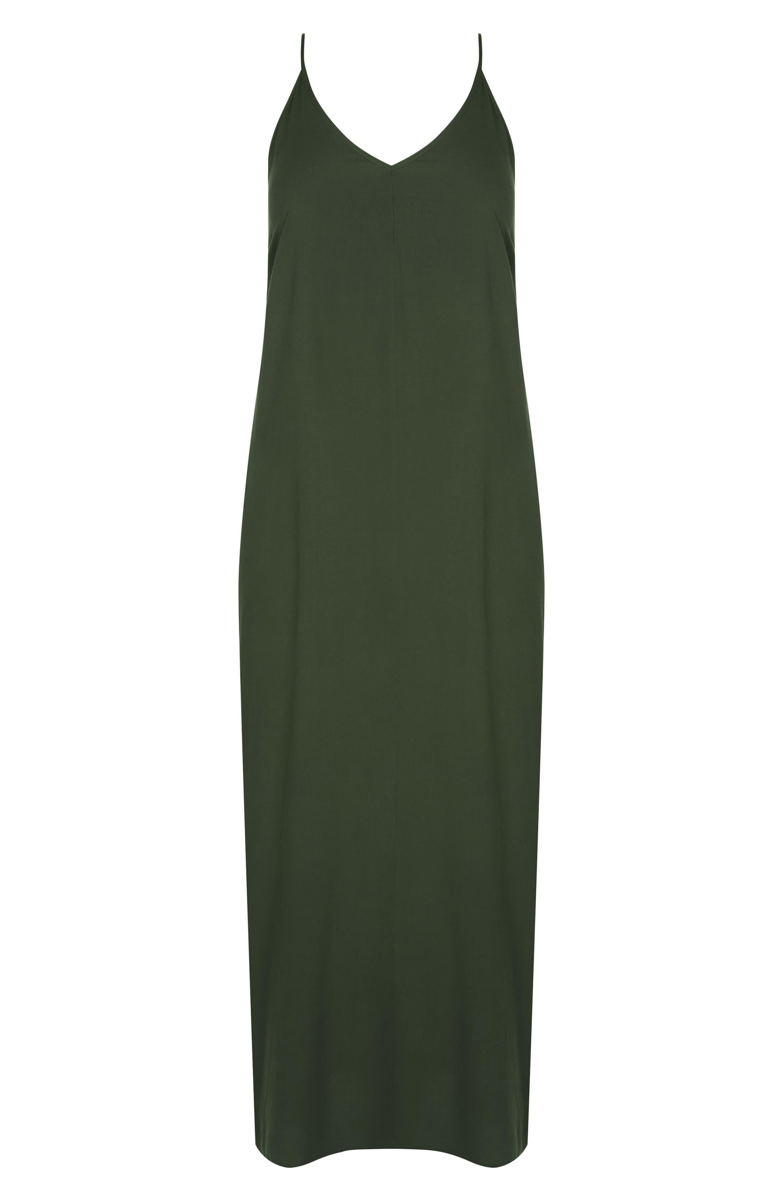 CITY CHIC, V-Neck Maxi Dress, Alternate thumbnail 3, color, OLIVE