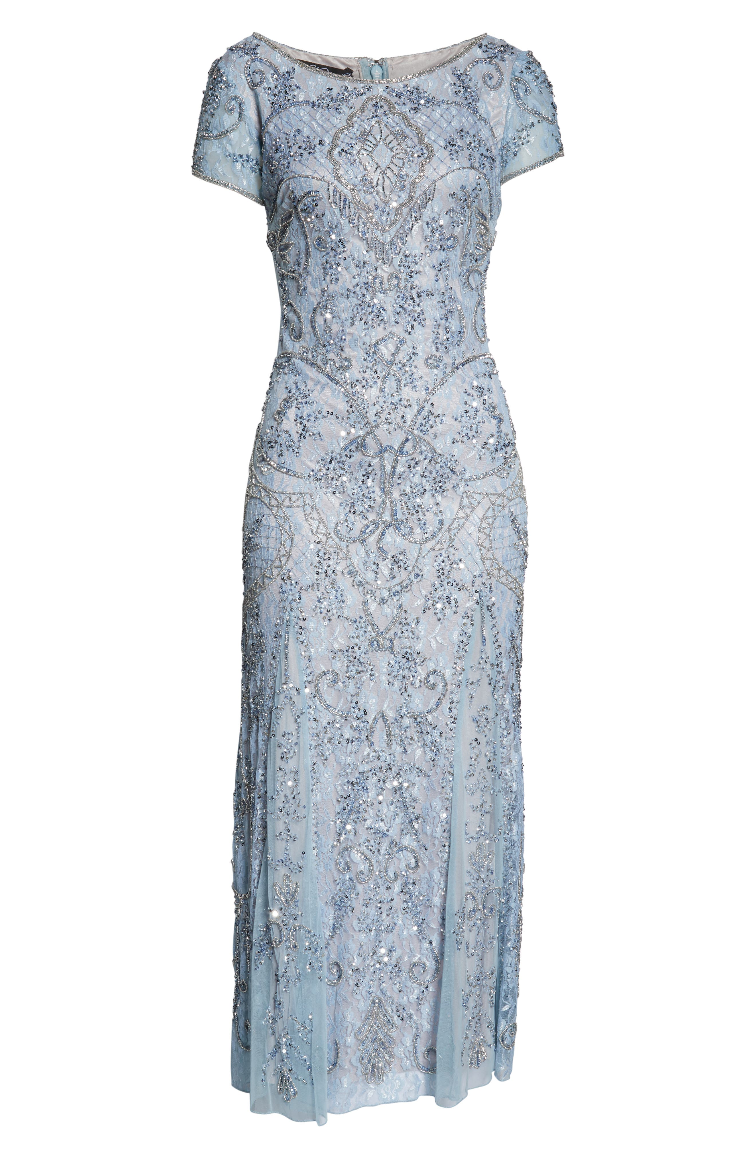 PISARRO NIGHTS, Embellished Lace Gown, Alternate thumbnail 7, color, SKY BLUE
