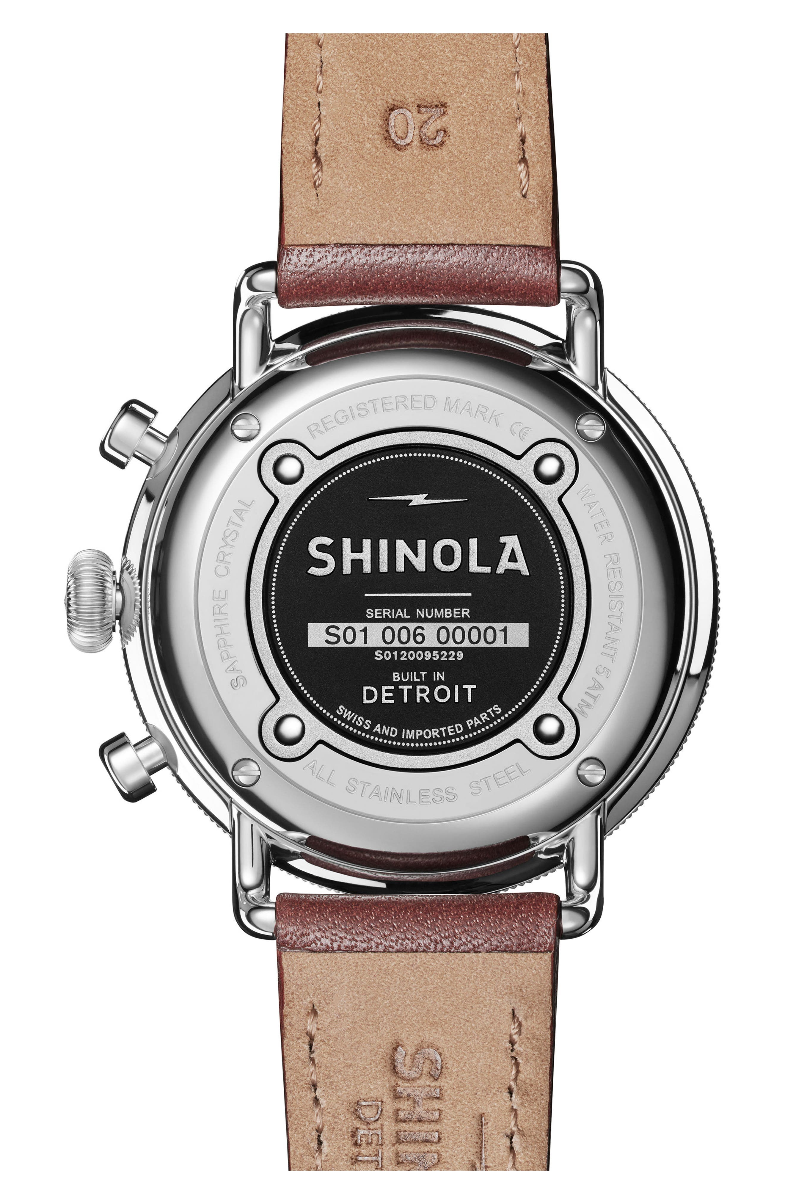 SHINOLA, The Canfield Chrono Leather Strap Watch, 43mm, Alternate thumbnail 2, color, DARK COGNAC/ BLACK/ SILVER