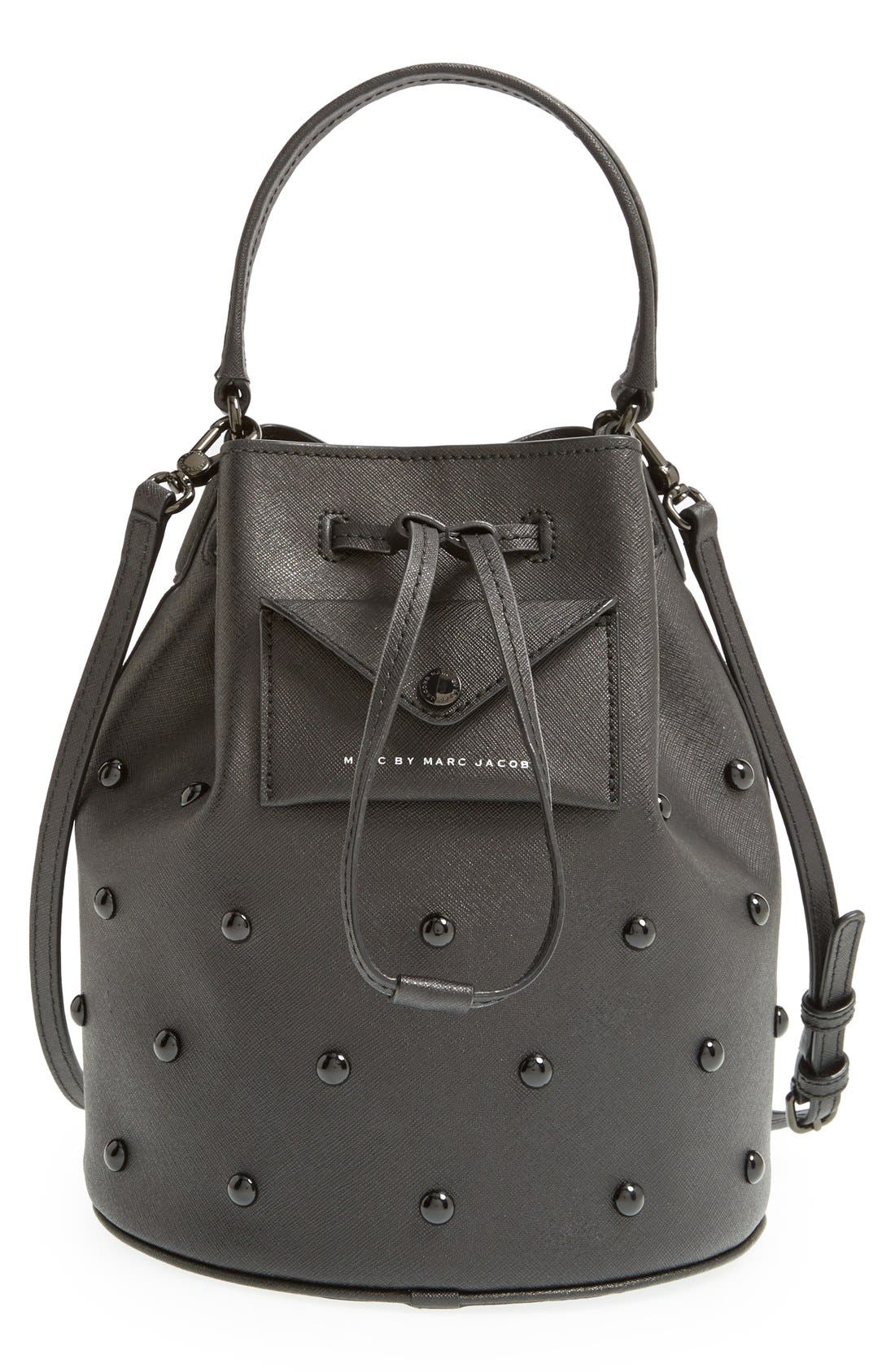 MARC JACOBS, MARC BY MARC JACOBS 'Metropoli' Studded Leather Bucket Bag, Main thumbnail 1, color, 001