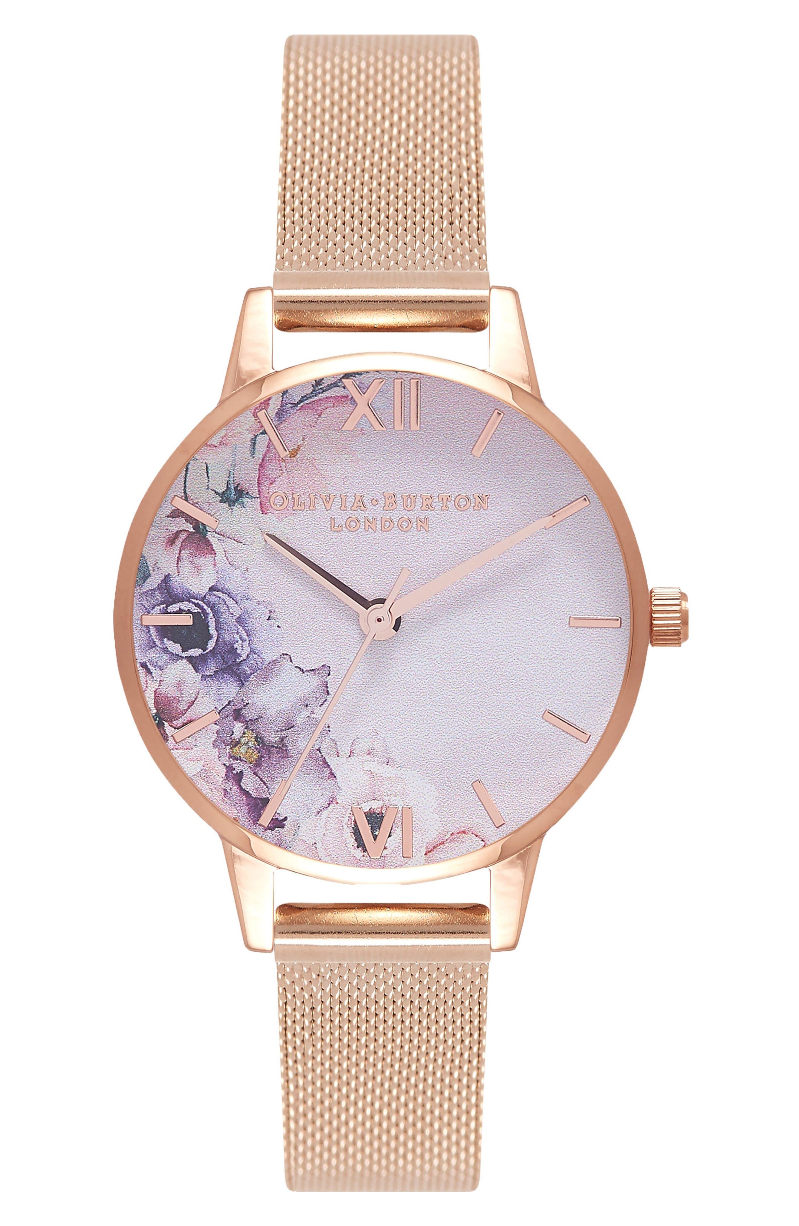 OLIVIA BURTON, Watercolour Florals Mesh Strap Watch, 30mm, Main thumbnail 1, color, ROSE GOLD/ WHITE / ROSE GOLD