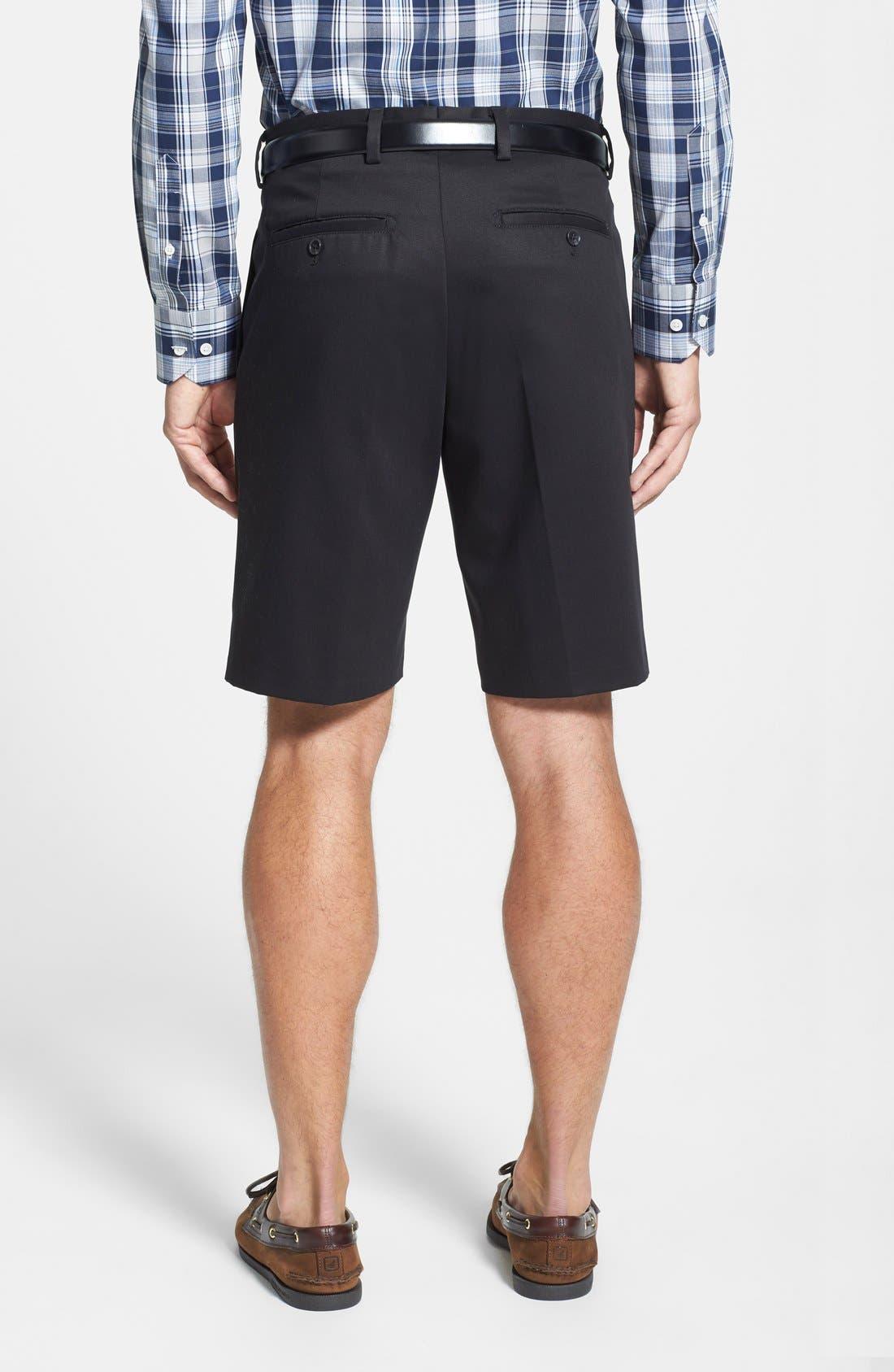 NORDSTROM MEN'S SHOP, Smartcare<sup>™</sup> Pleated Shorts, Alternate thumbnail 2, color, BLACK