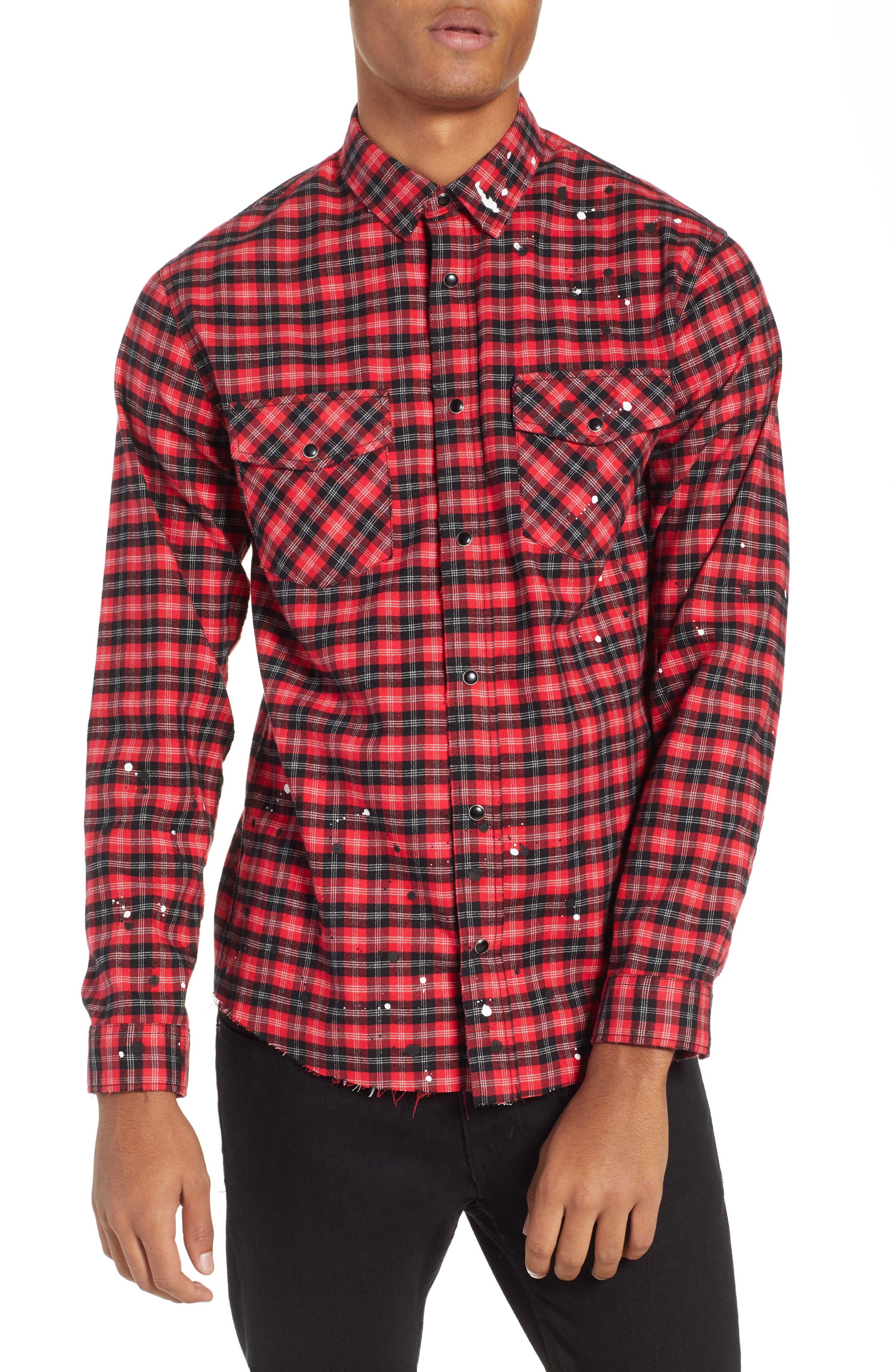 THE KOOPLES, Slim Fit Paint Spatter Flannel Shirt, Main thumbnail 1, color, 600