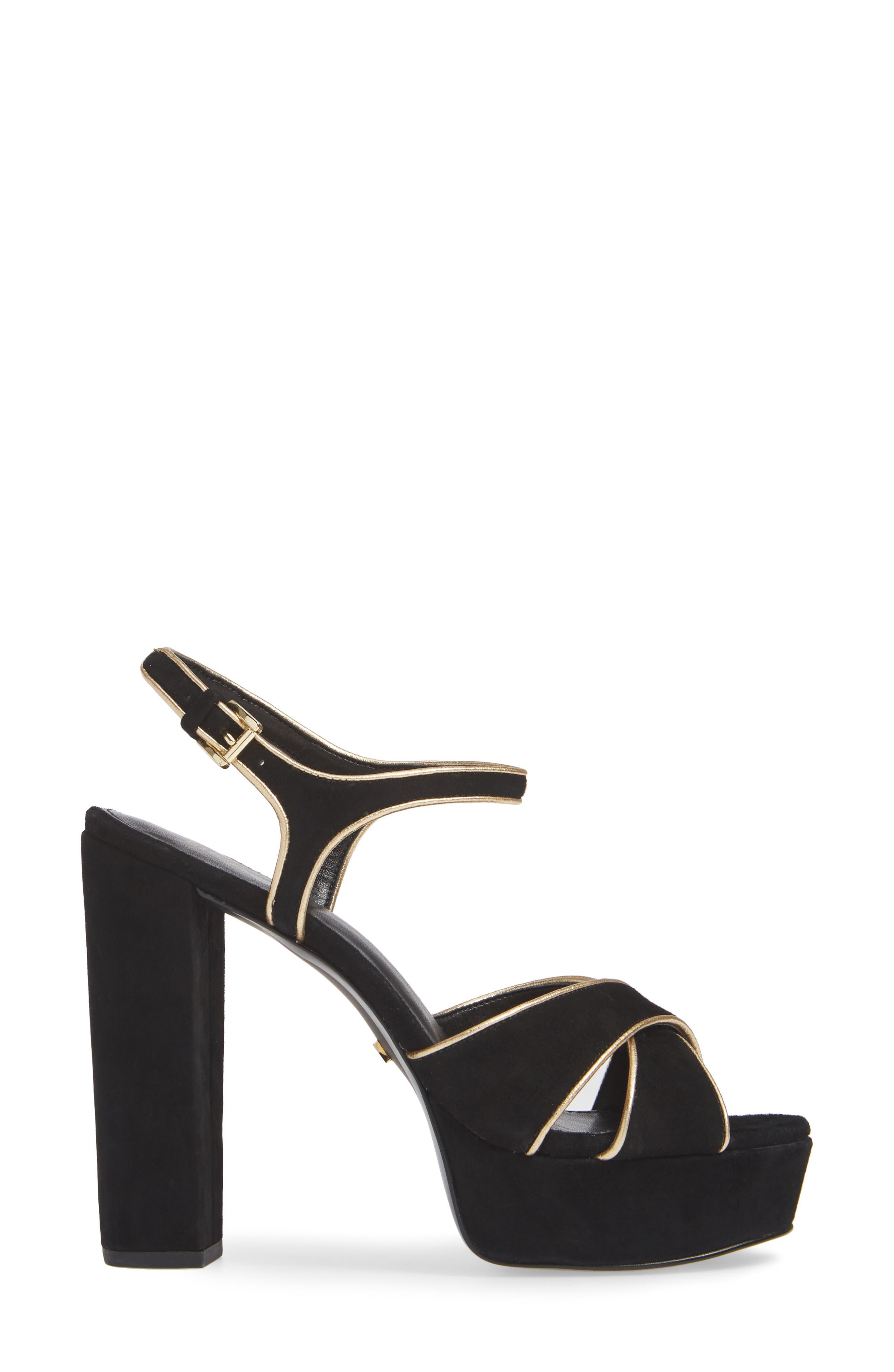 MICHAEL MICHAEL KORS, Lexie Platform Sandal, Alternate thumbnail 3, color, 001