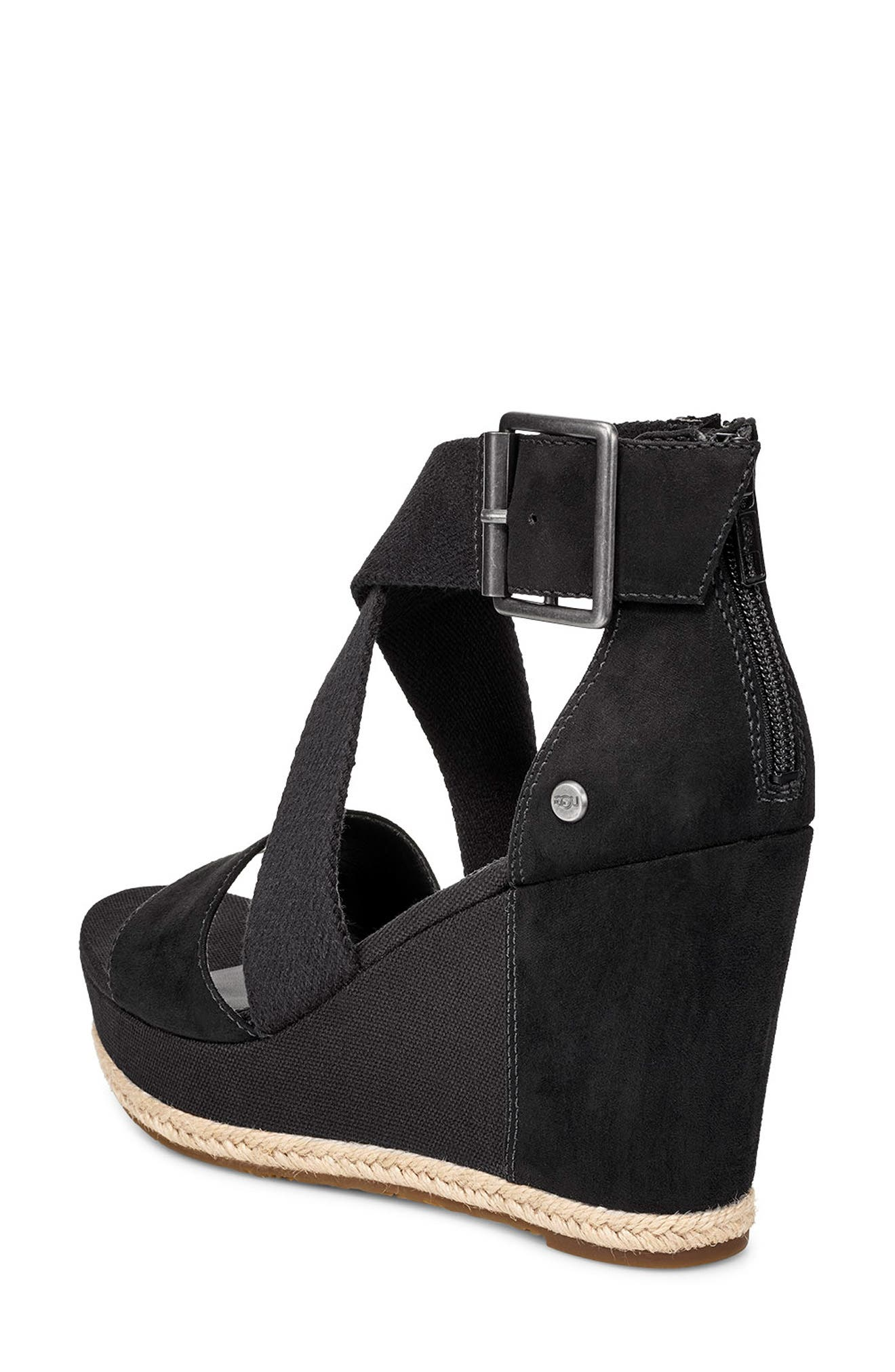 UGG<SUP>®</SUP>, Calla Wedge Sandal, Alternate thumbnail 2, color, BLACK FABRIC