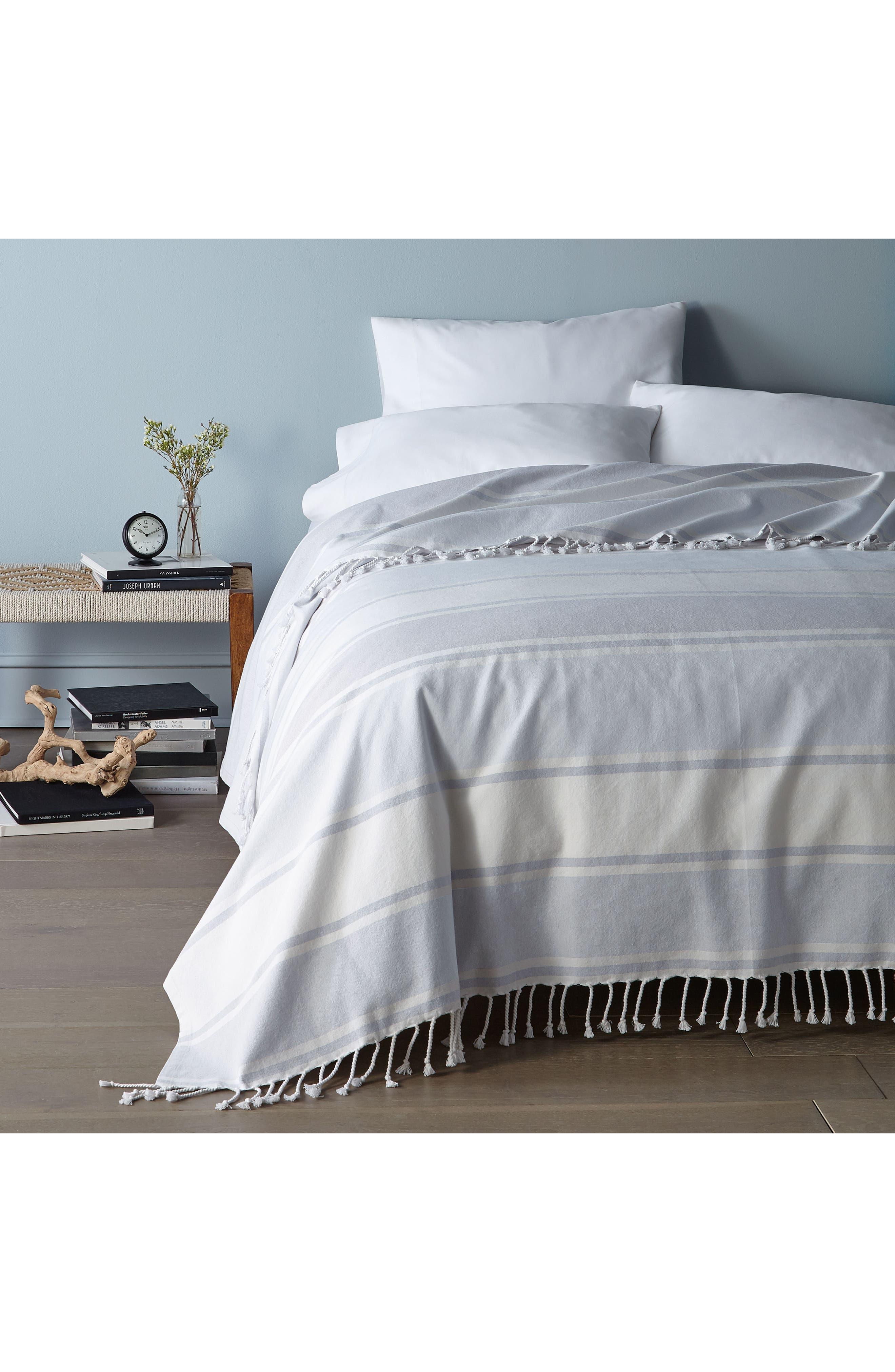 DKNY, Donna Karan New York Pure Stripe Blanket, Alternate thumbnail 5, color, BLUE